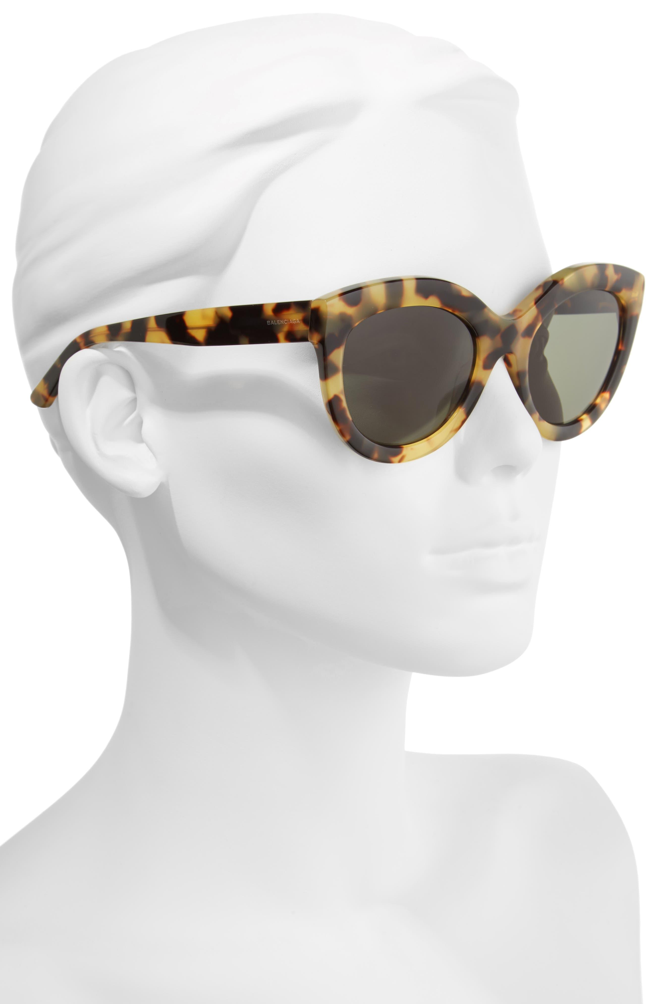54mm Cat Eye Sunglasses,                             Alternate thumbnail 2, color,                             VINTAGE HAVANA/ GREEN LENS