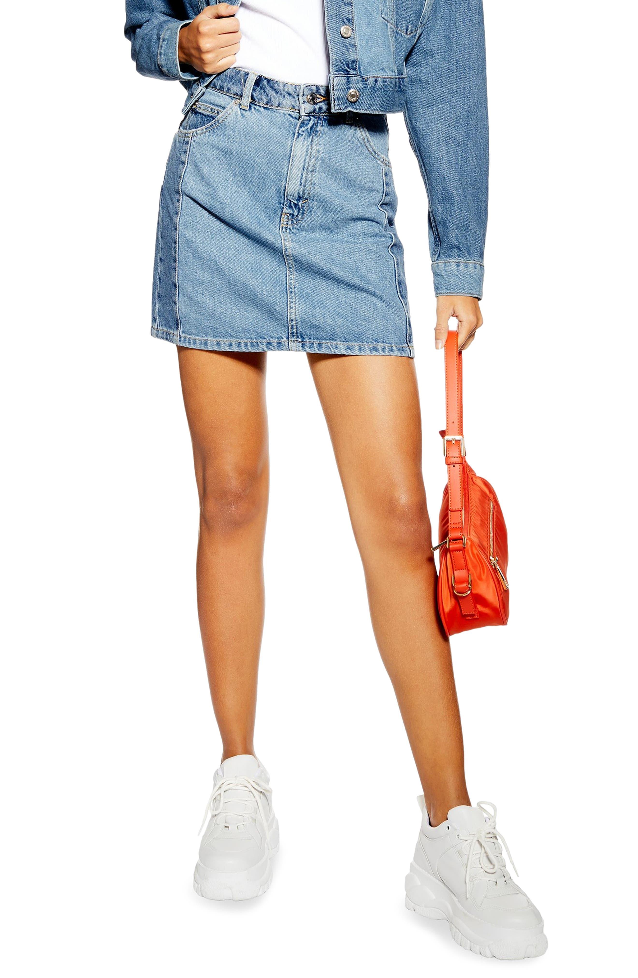 Topshop Block Denim Miniskirt, US (fits like 6-8) - Blue