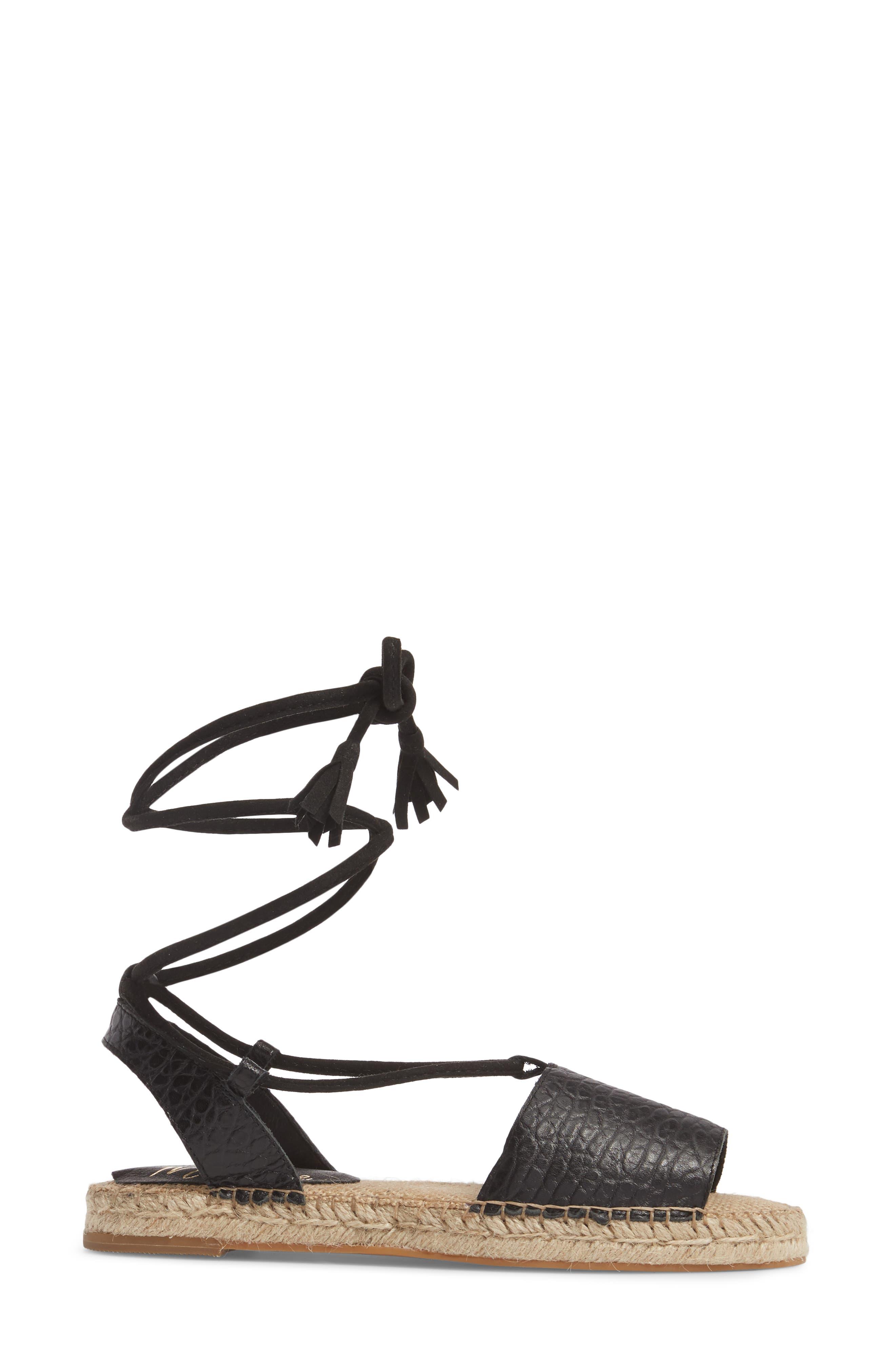 Amuse Society x Matisse La Vita Sandal,                             Alternate thumbnail 3, color,                             BLACK LEATHER
