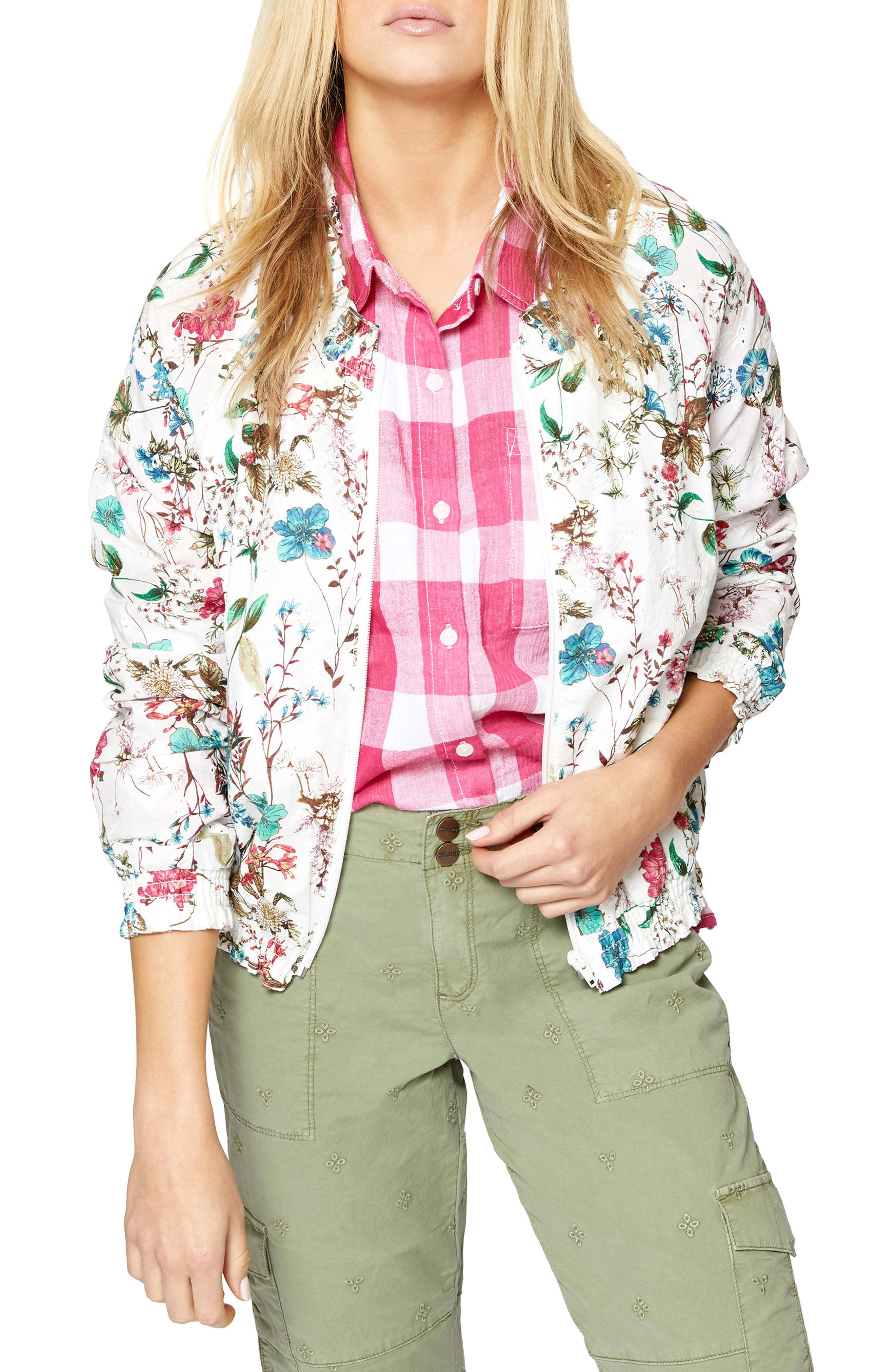 In Bloom Eyelet Bomber Jacket,                             Main thumbnail 1, color,                             CHEERFUL NATURE
