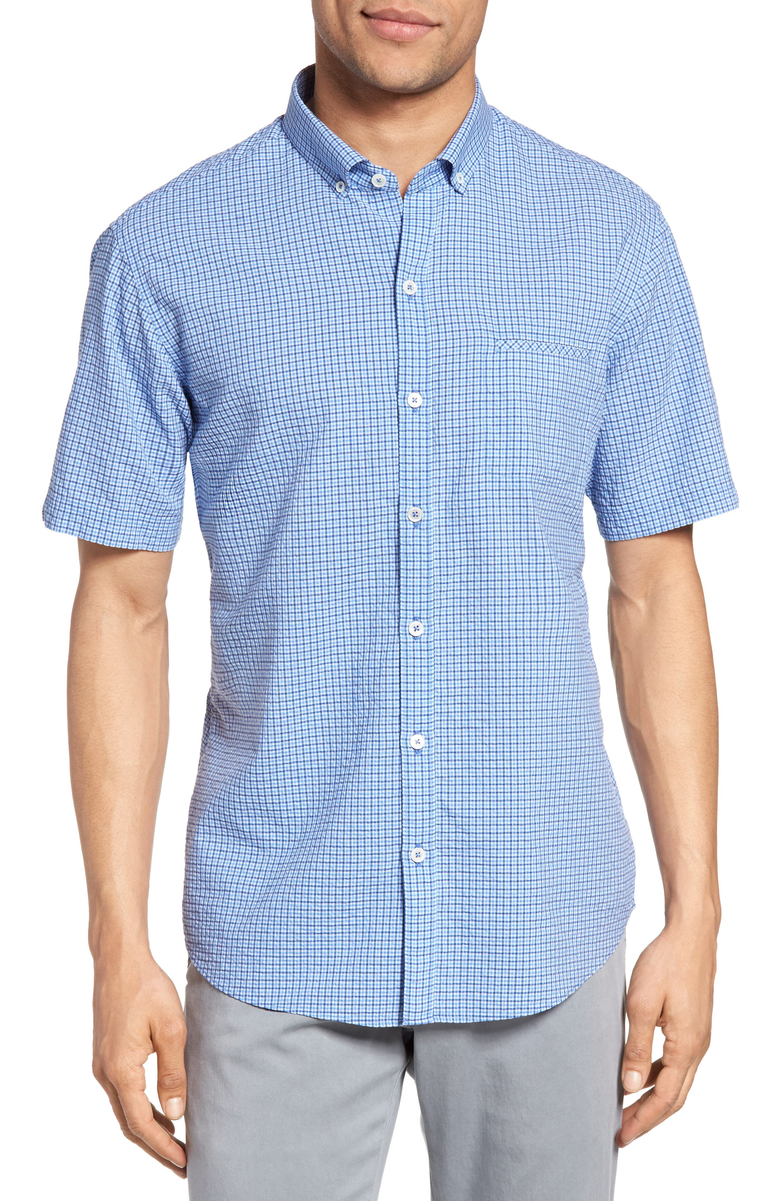 Billy Trim Fit Plaid Sport Shirt,                         Main,                         color, 422