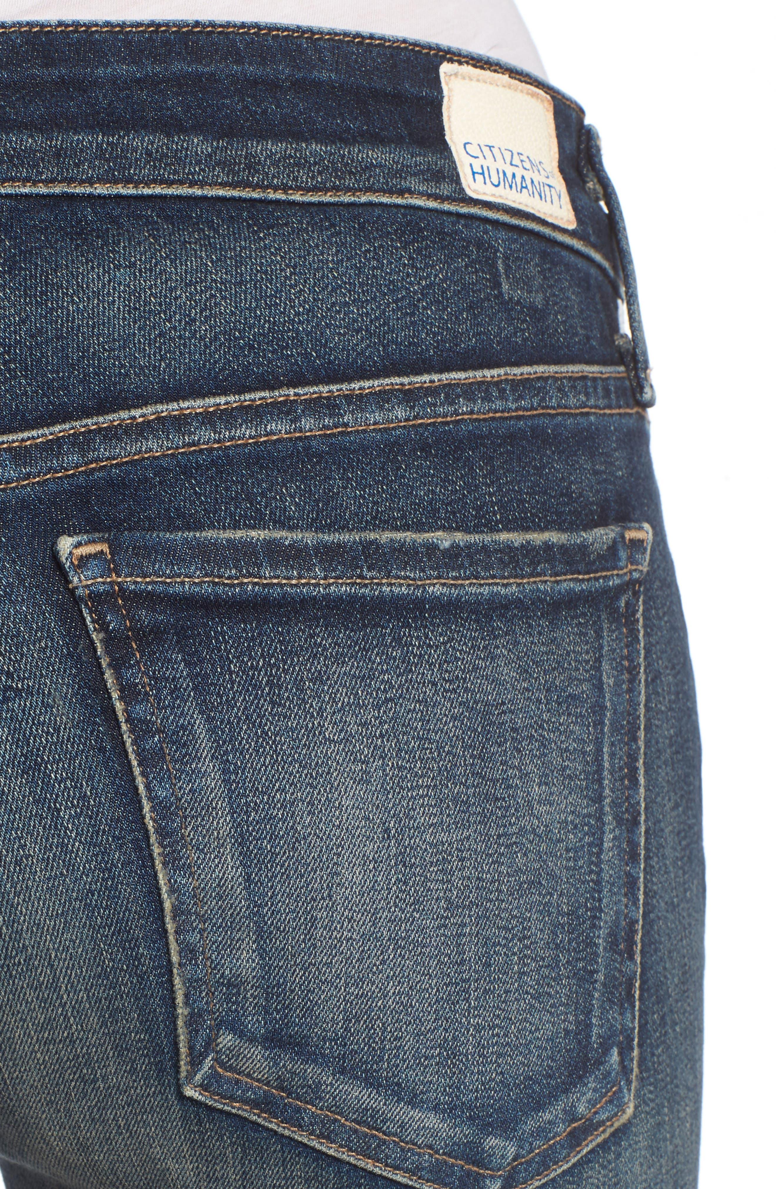 Racer Whiskered Skinny Jeans,                             Alternate thumbnail 4, color,                             403