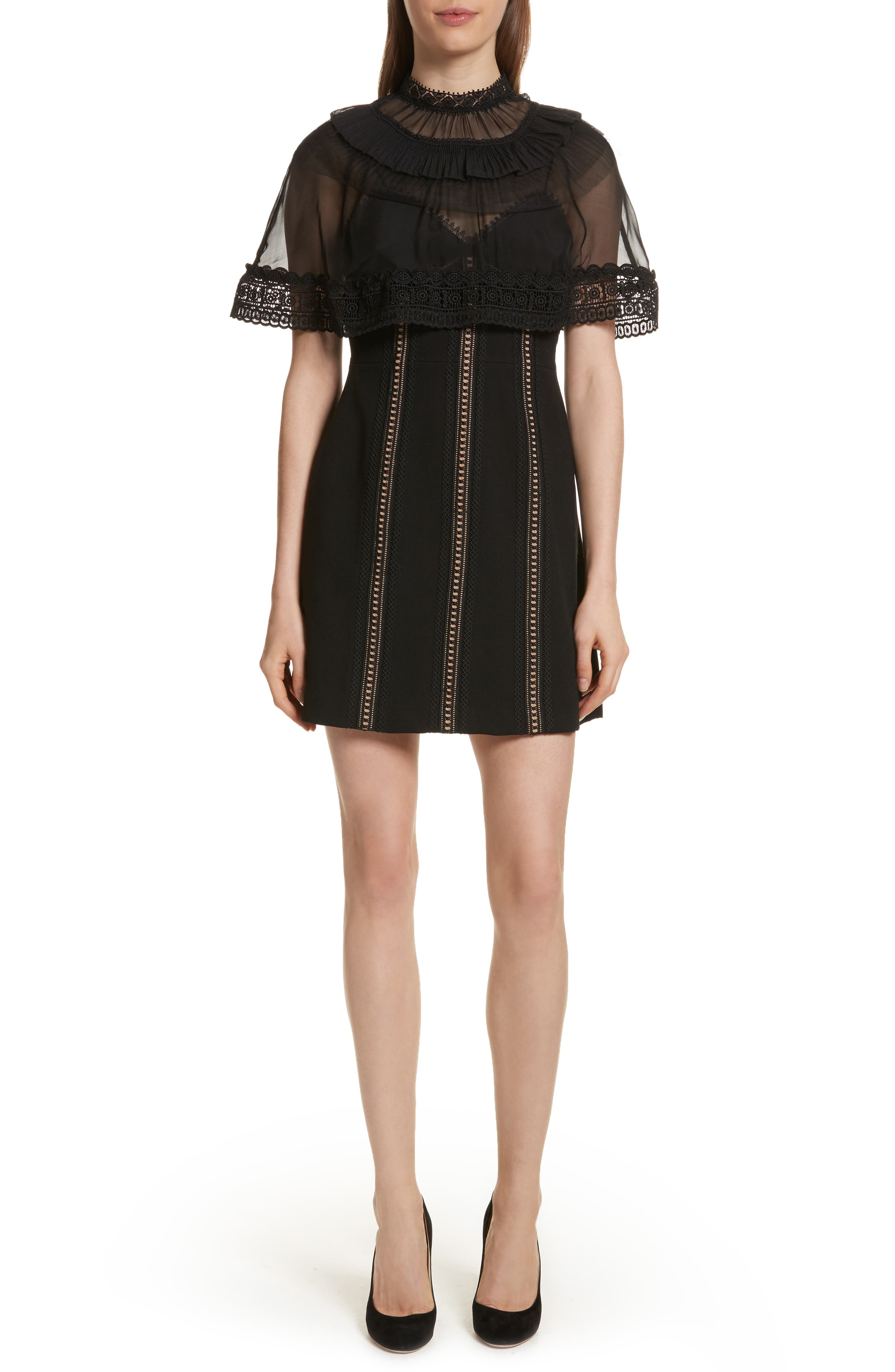 Trimmed Overlay Minidress,                         Main,                         color, 001