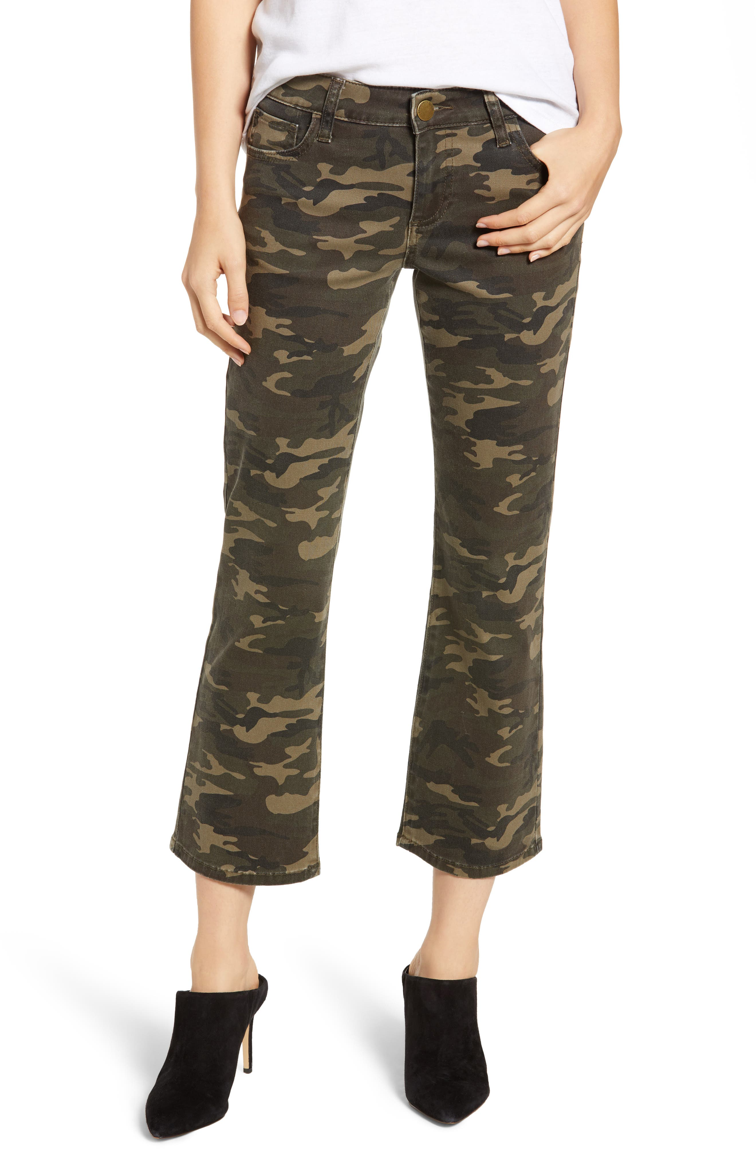 Camo Print Crop Flare Jeans, Main, color, OLIVE CAMO