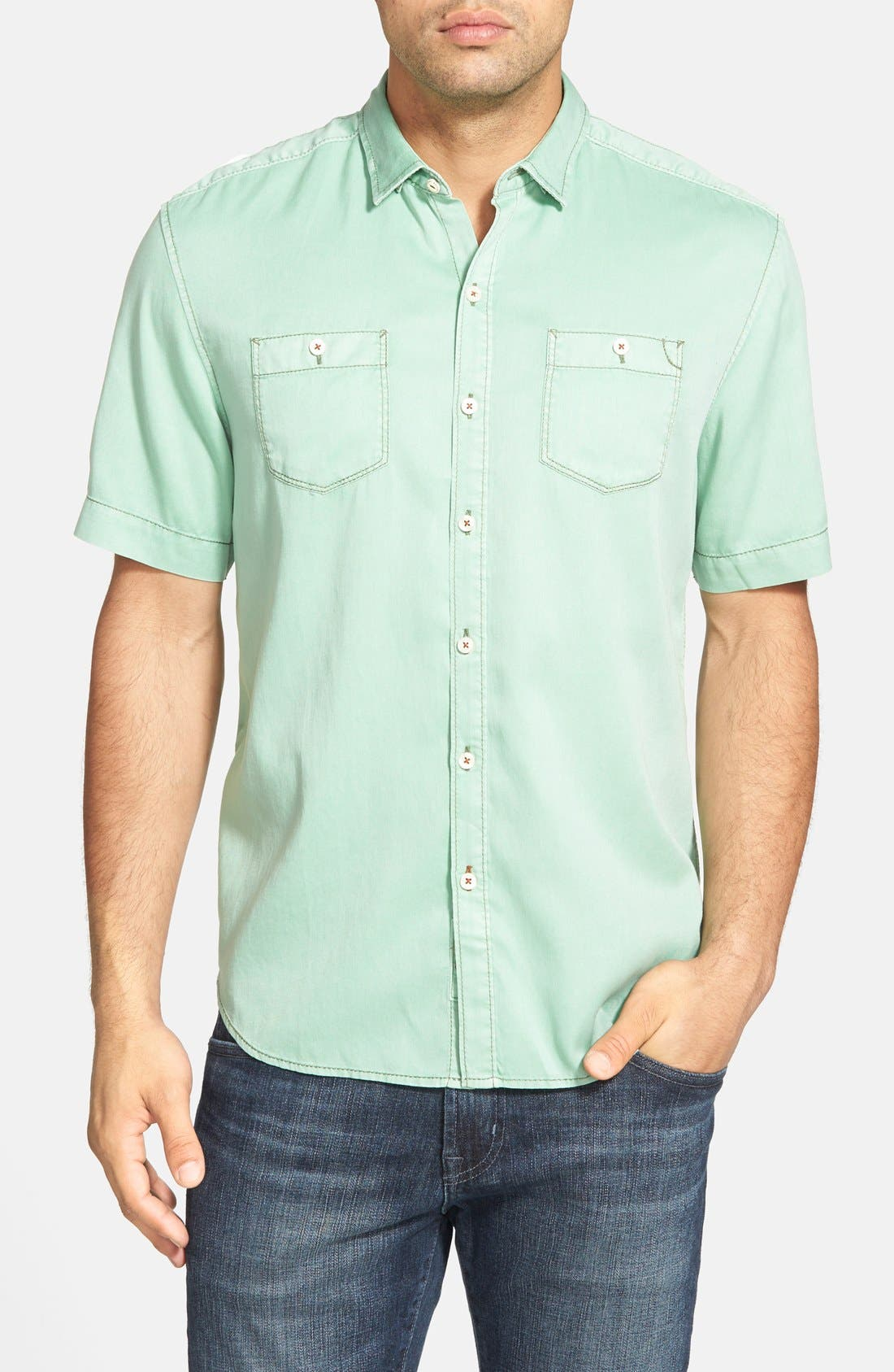 'New Twilly' Island Modern Fit Short Sleeve Twill Shirt,                             Main thumbnail 8, color,