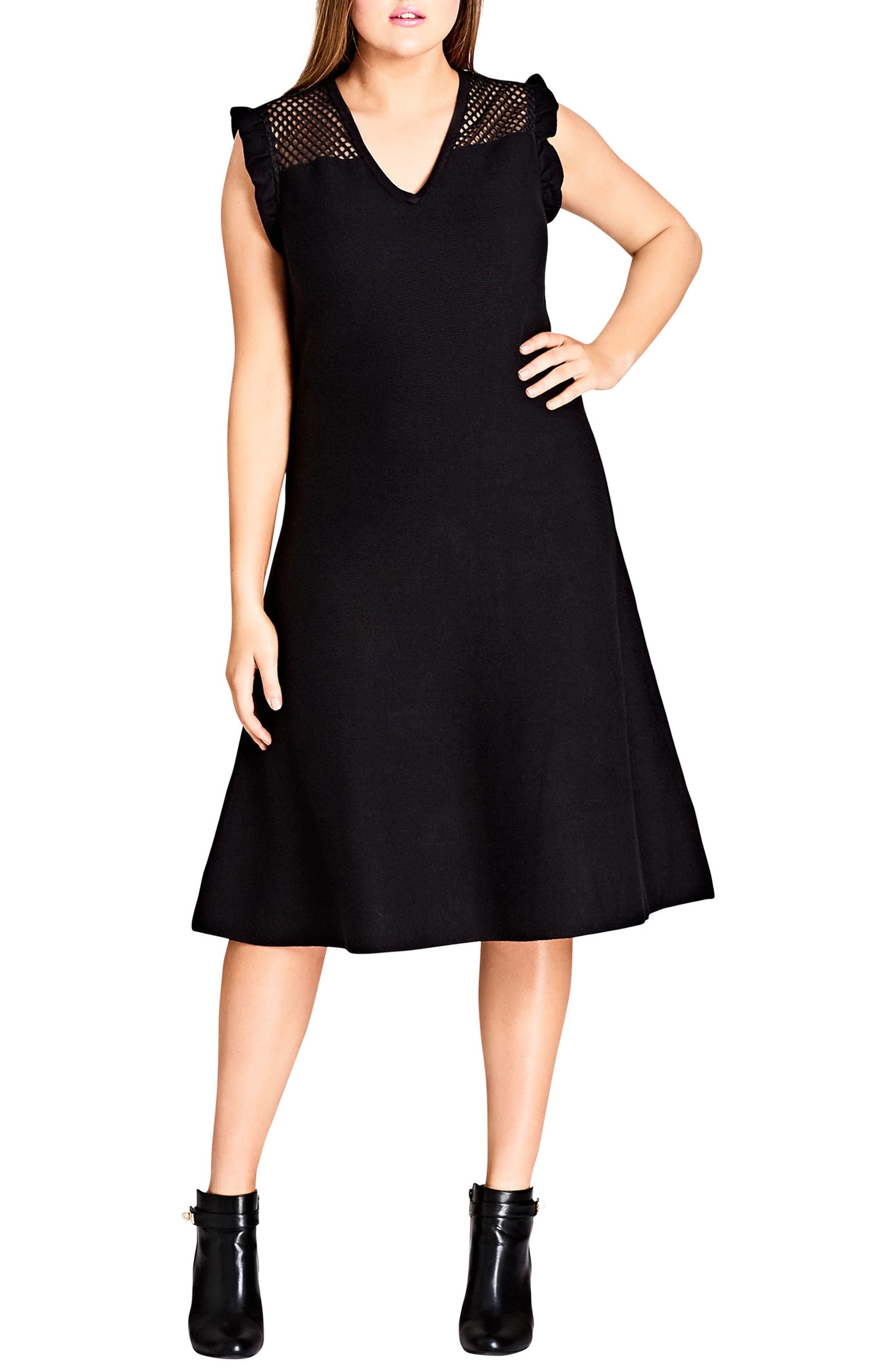 CITY CHIC Charmer Fit & Flare Midi Dress, Main, color, 001