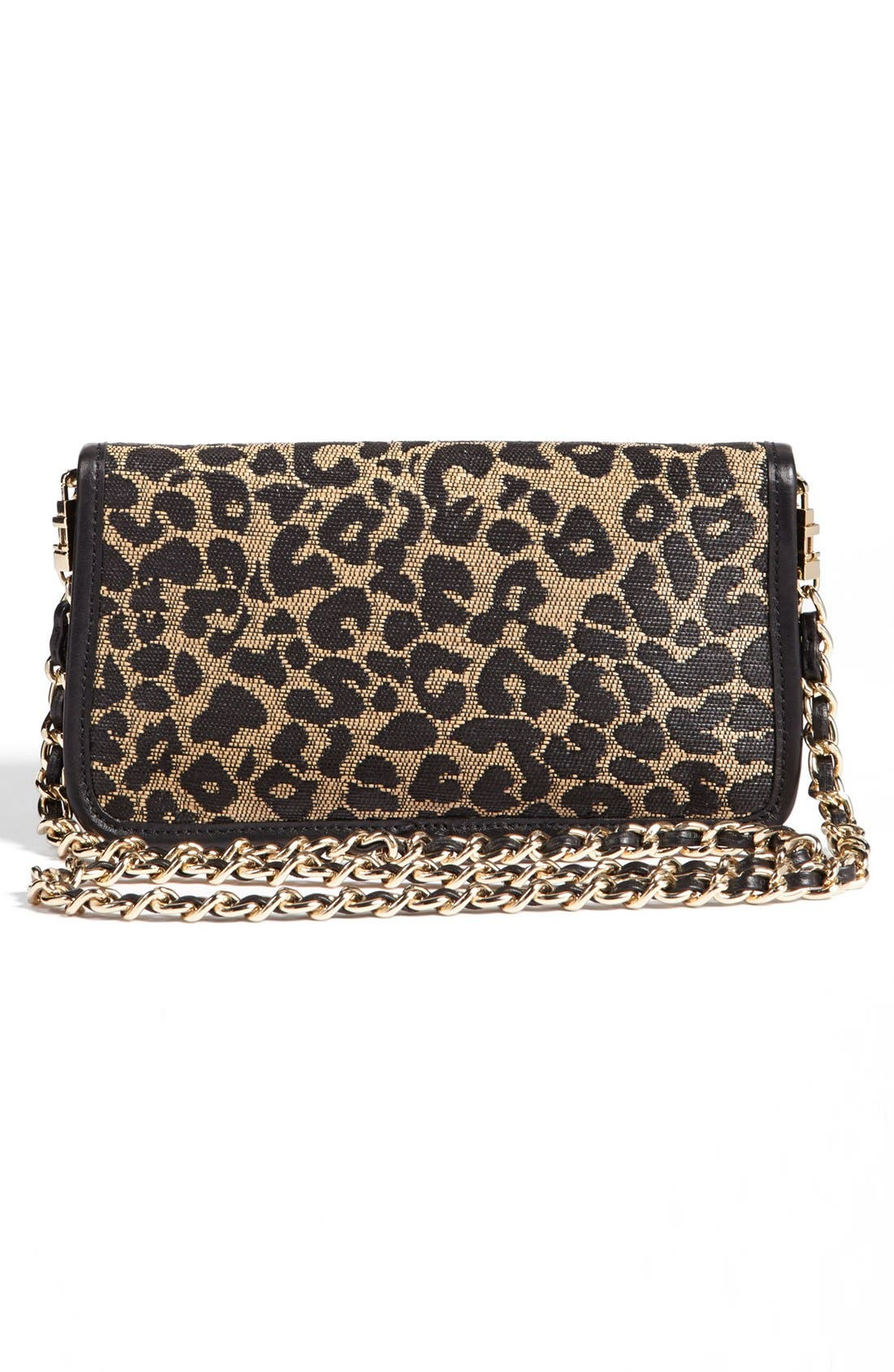 'Adalyn' Leopard Raffia Clutch,                             Alternate thumbnail 2, color,                             001
