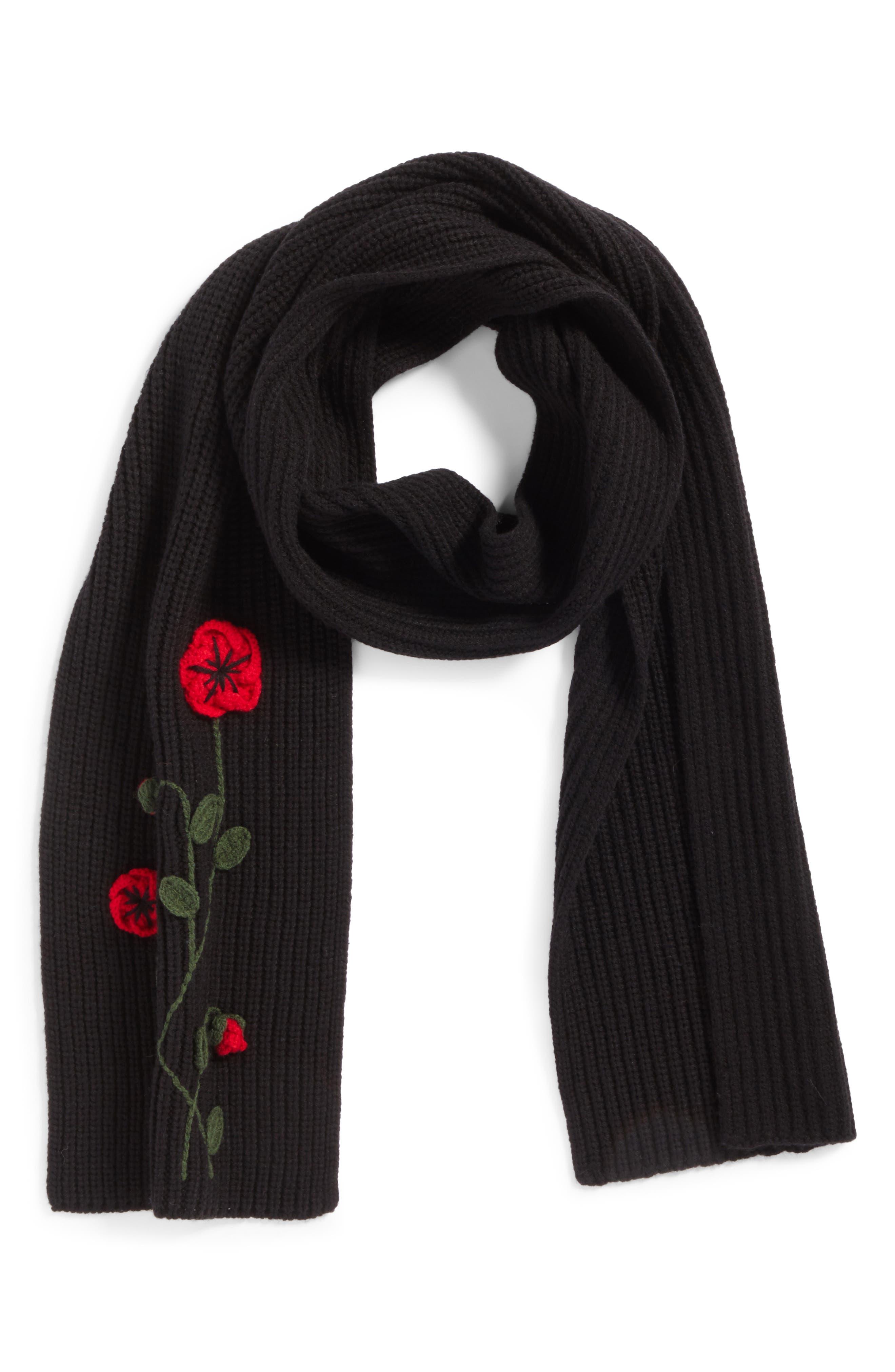 crochet poppy scarf,                             Alternate thumbnail 2, color,                             001