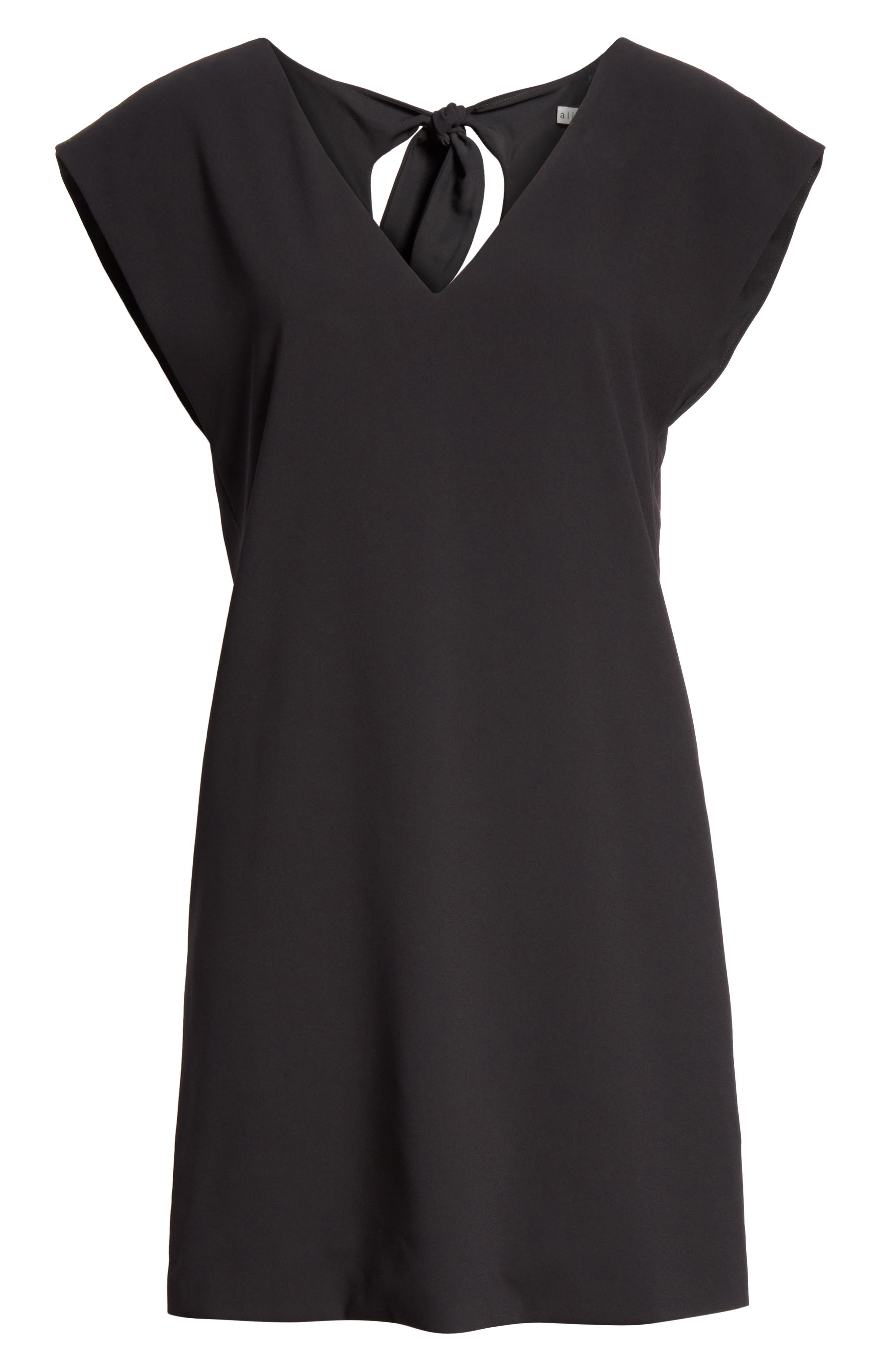 Carita Back Tie Shift Dress,                             Alternate thumbnail 6, color,                             BLACK