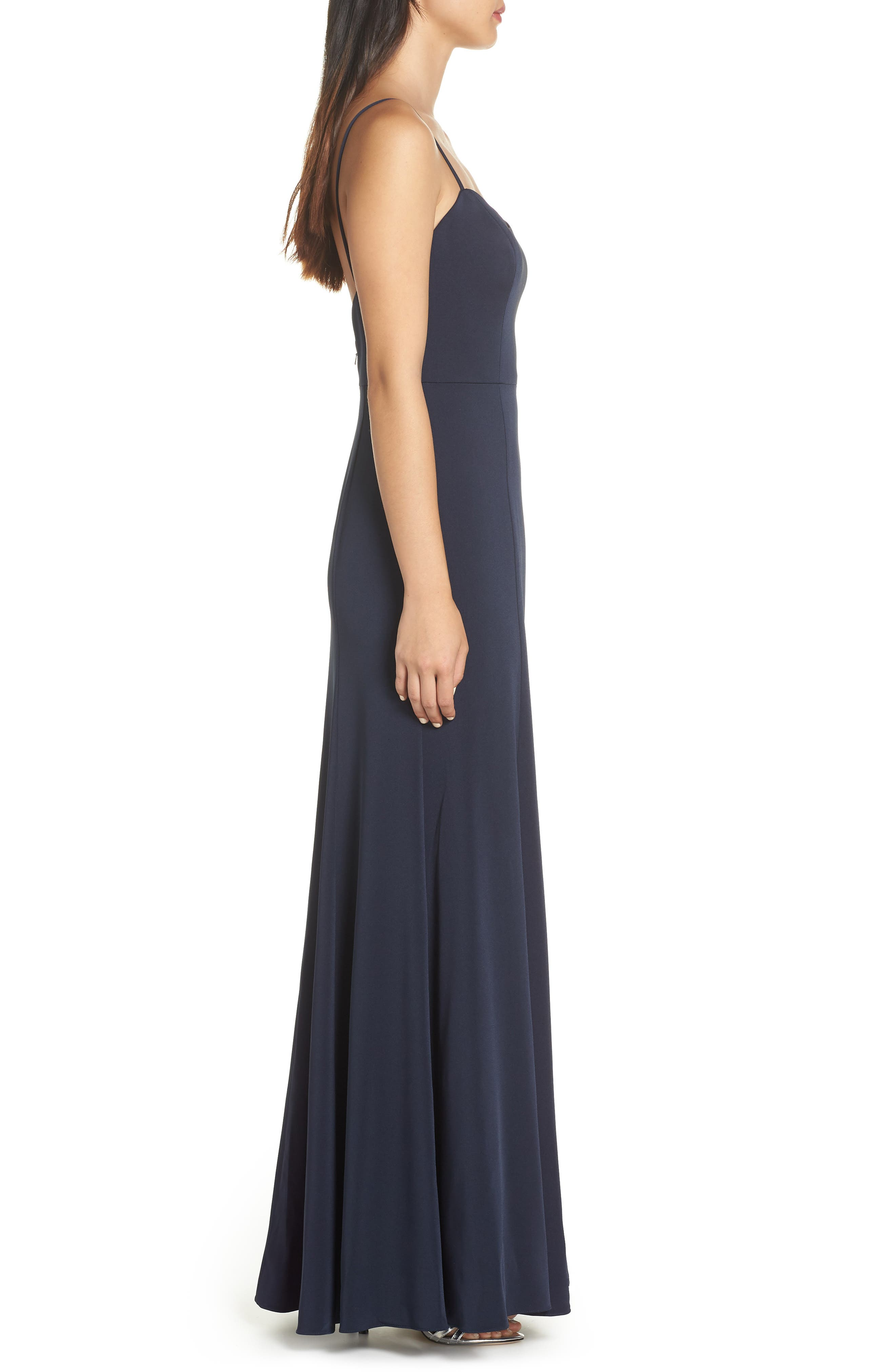 Aniston Luxe Crepe Trumpet Gown,                             Alternate thumbnail 3, color,                             MIDNIGHT
