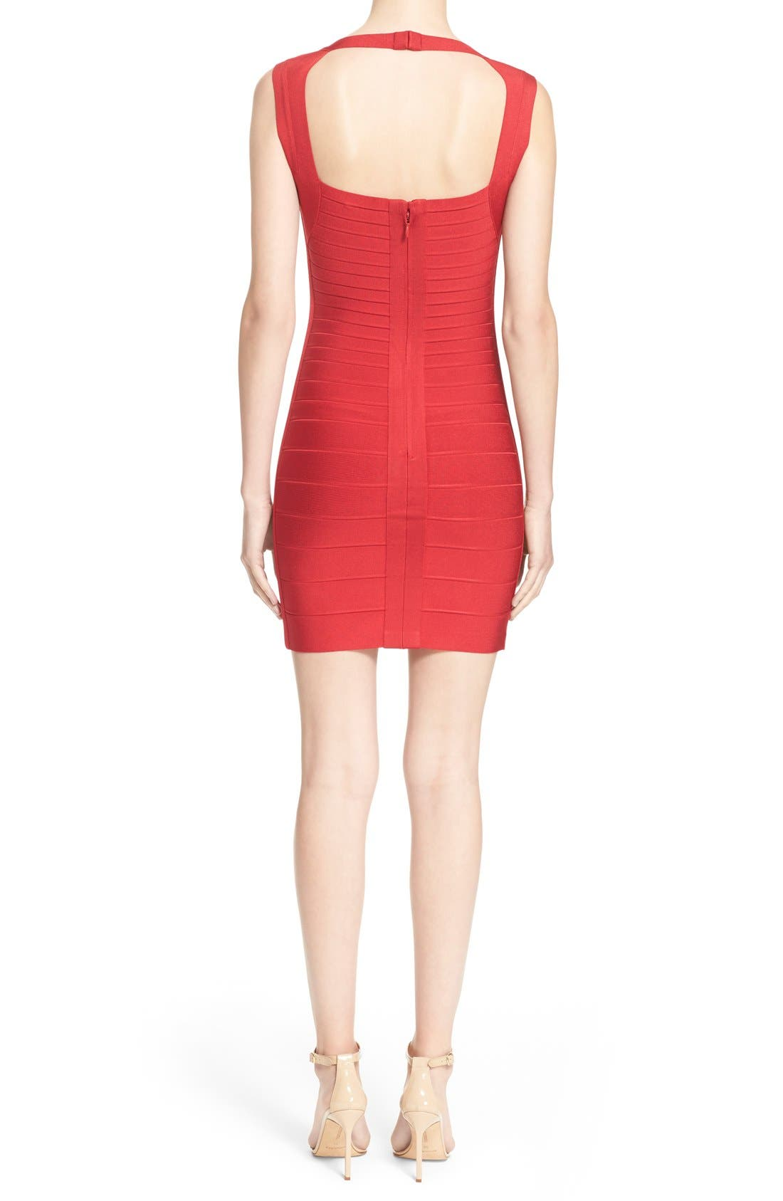 HERVE LEGER,                             Open Back Bandage Dress,                             Alternate thumbnail 2, color,                             616