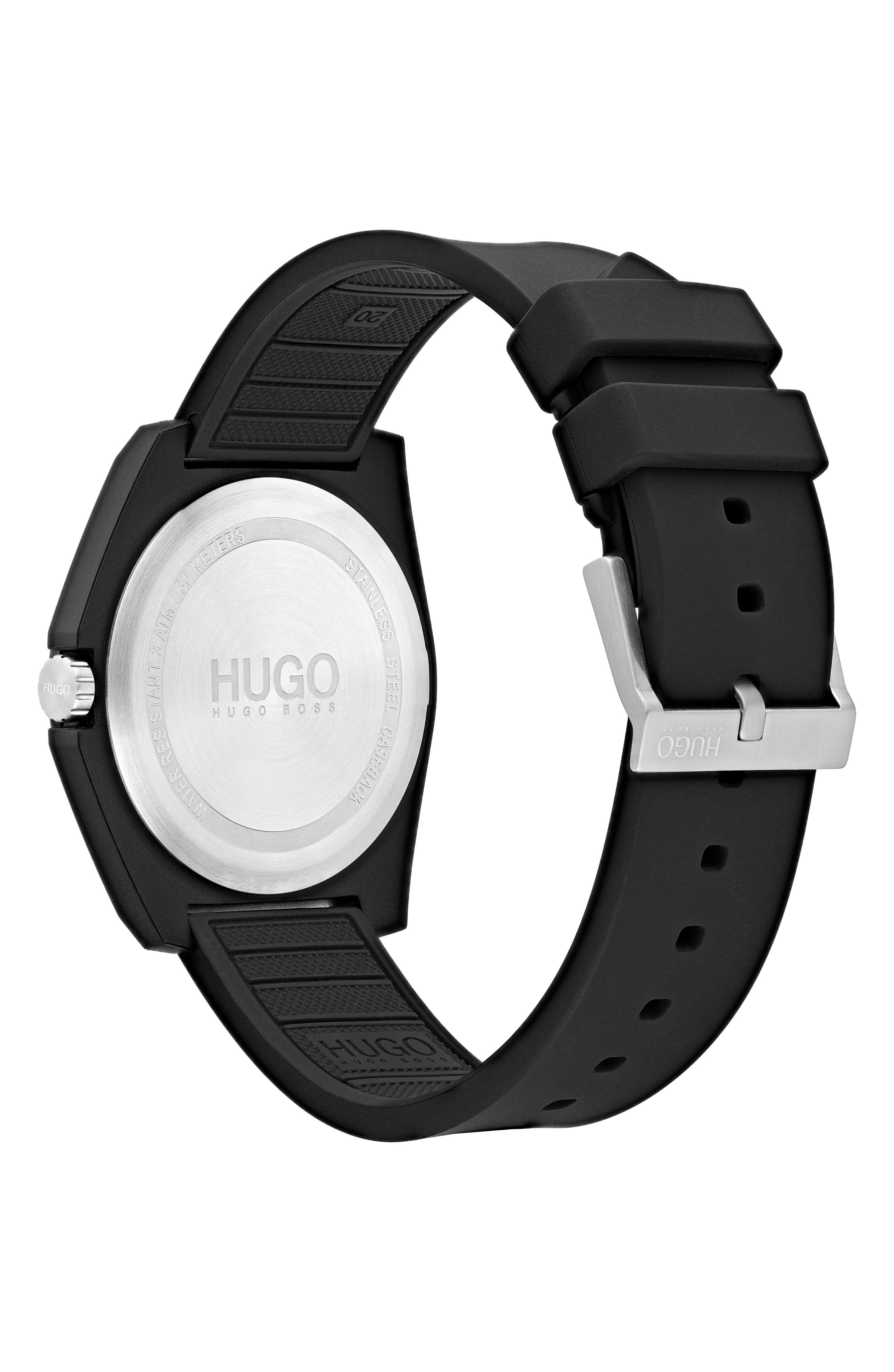 Play Rubber Strap Watch, 40mm,                             Alternate thumbnail 2, color,                             BLACK