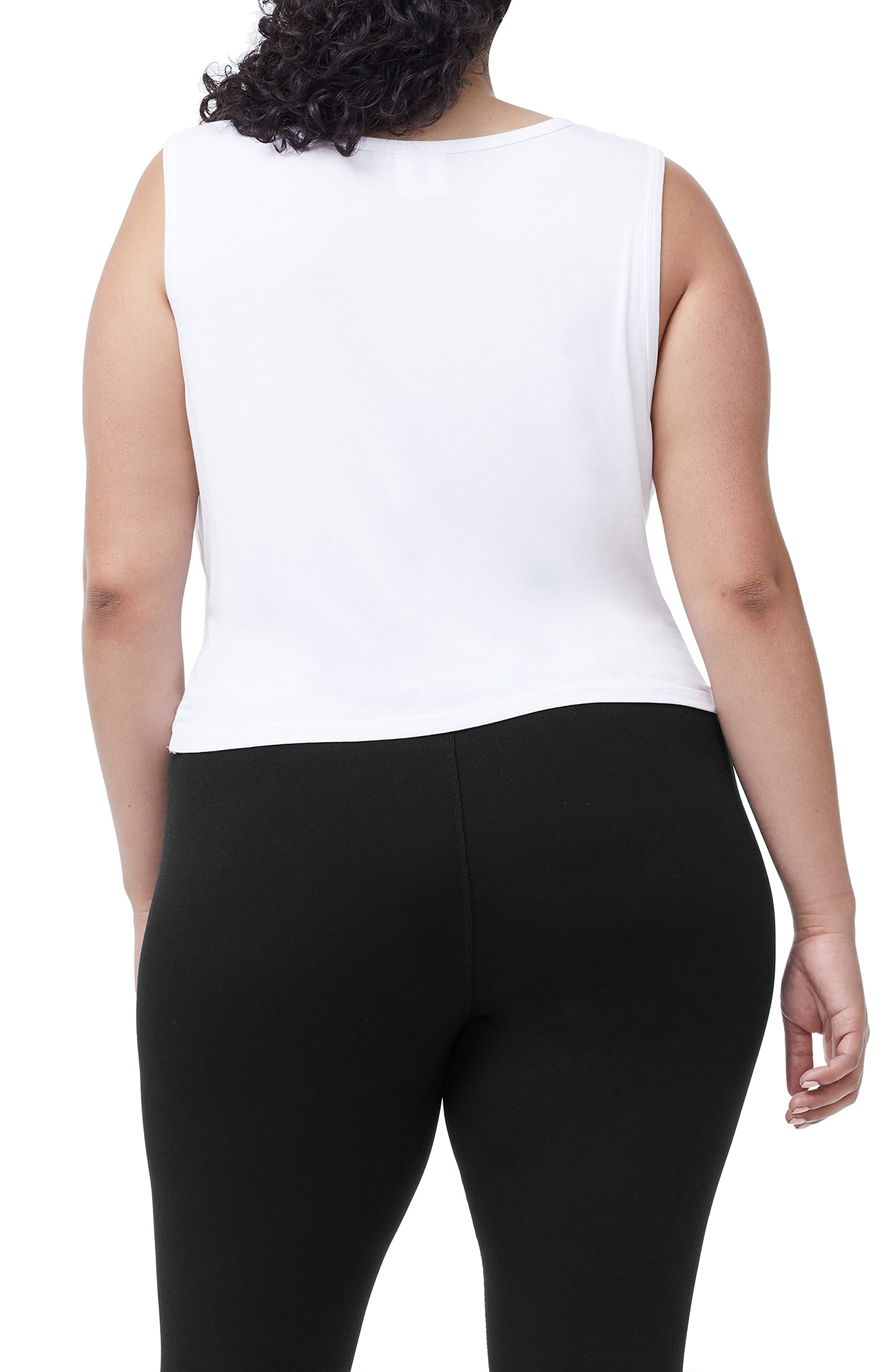 Knotted Tank Top,                             Alternate thumbnail 4, color,                             WHITE001