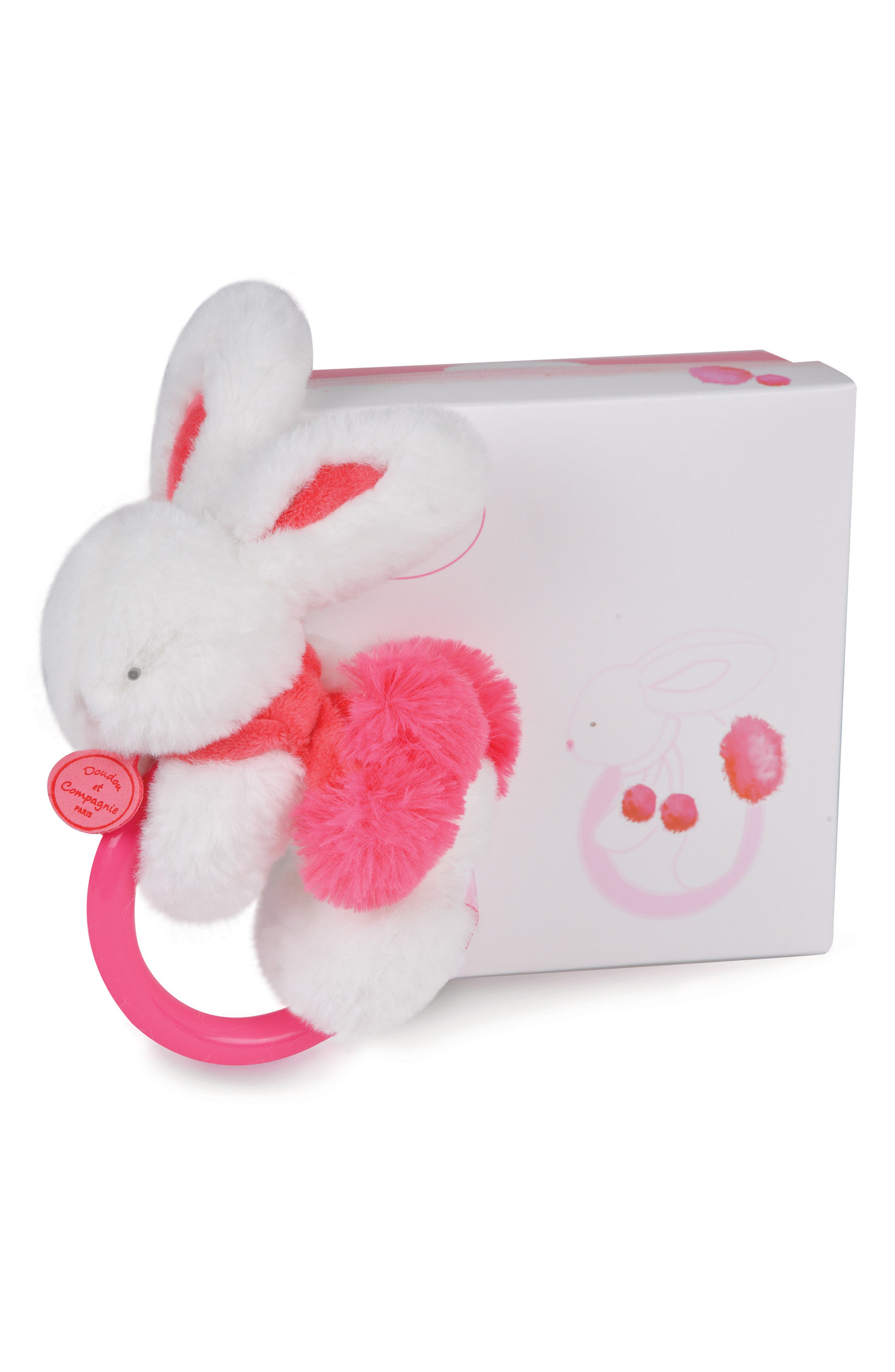 Strawberry Pink Bunny Rattle & Lovie Blanket Gift Set,                             Alternate thumbnail 2, color,                             650