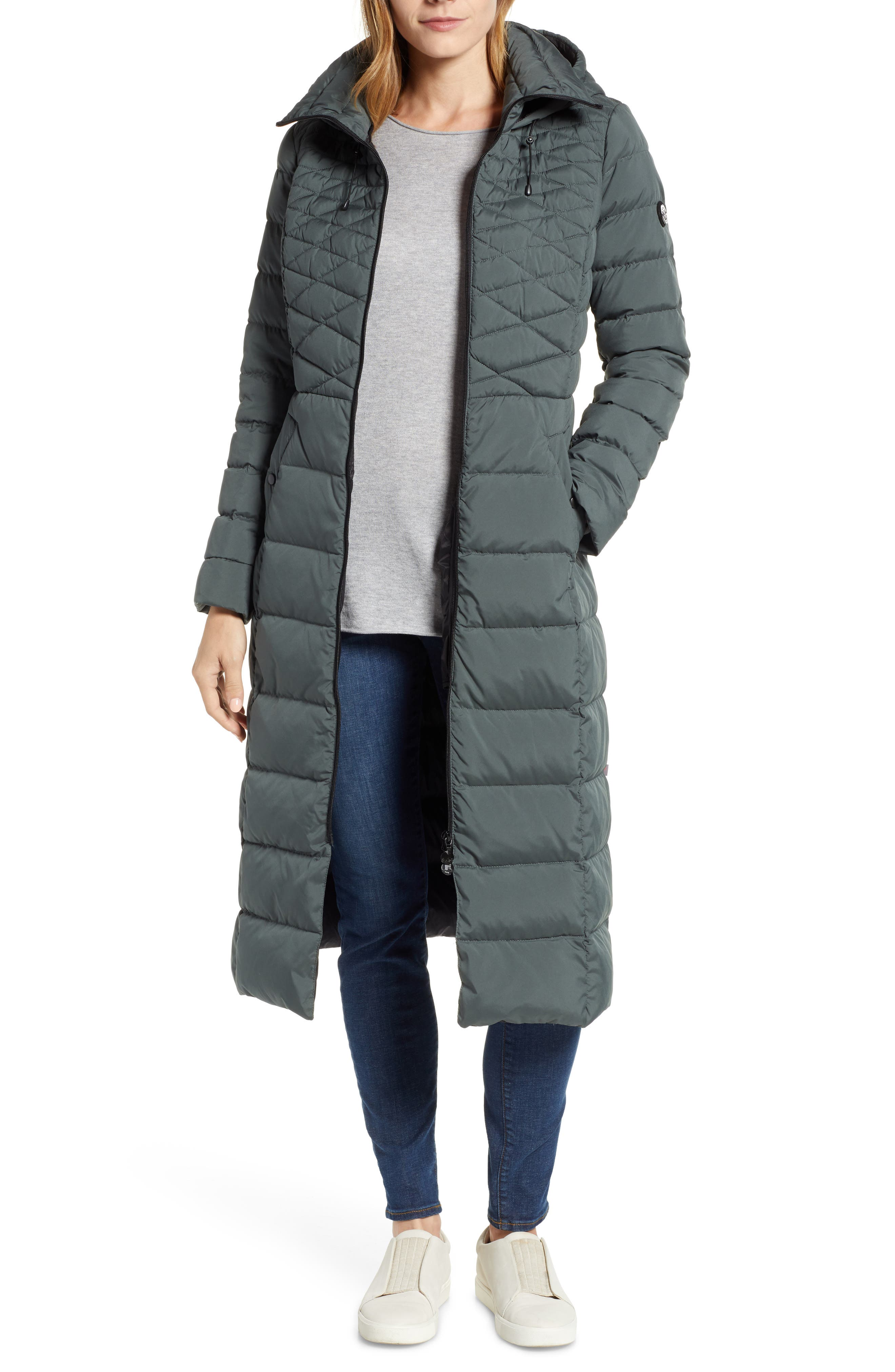 Bernardo Quilted Long Coat With Down & Primaloft Fill, Green