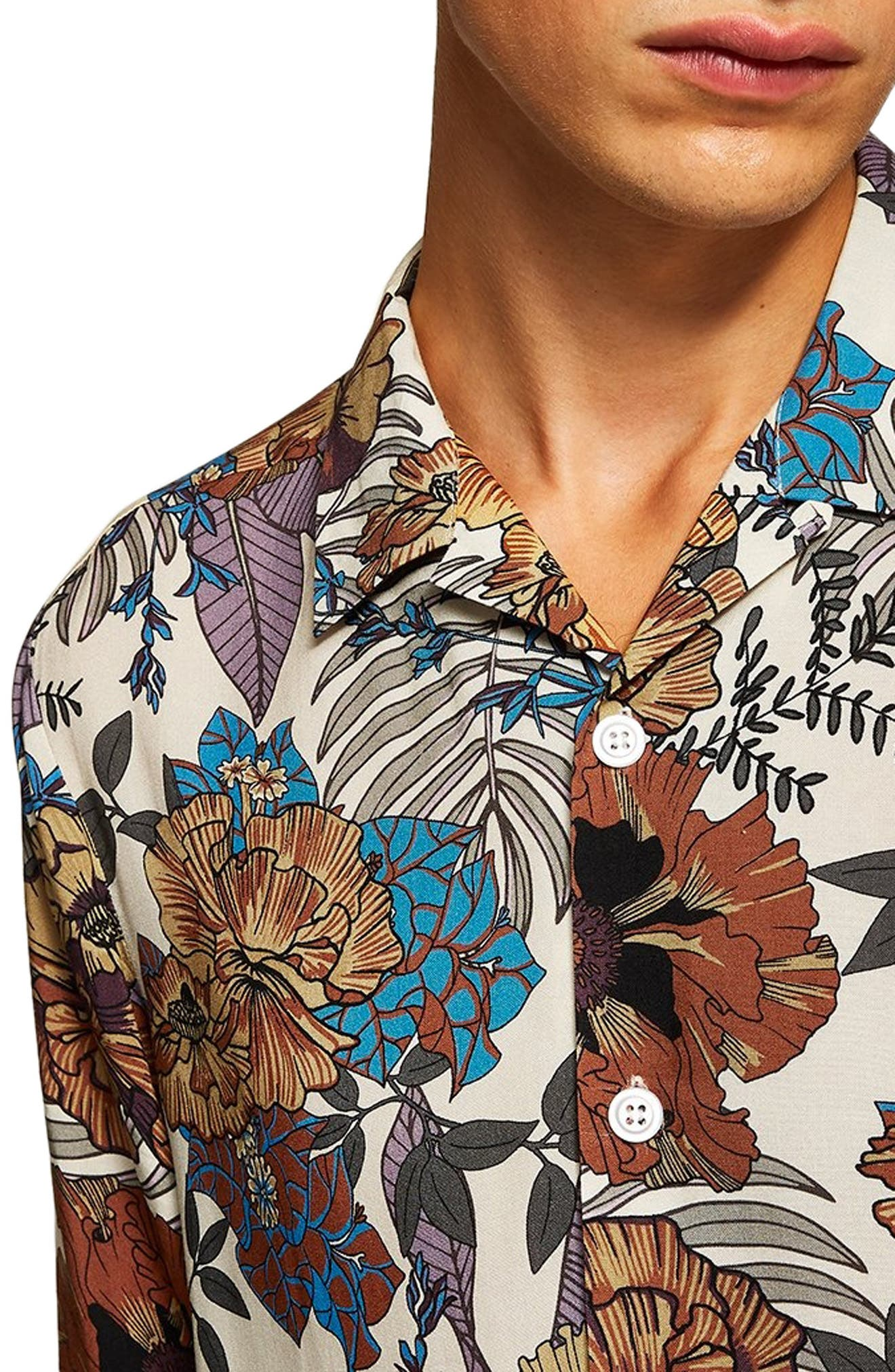 Floral Wing Collar Classic Fit Shirt,                             Alternate thumbnail 2, color,                             250