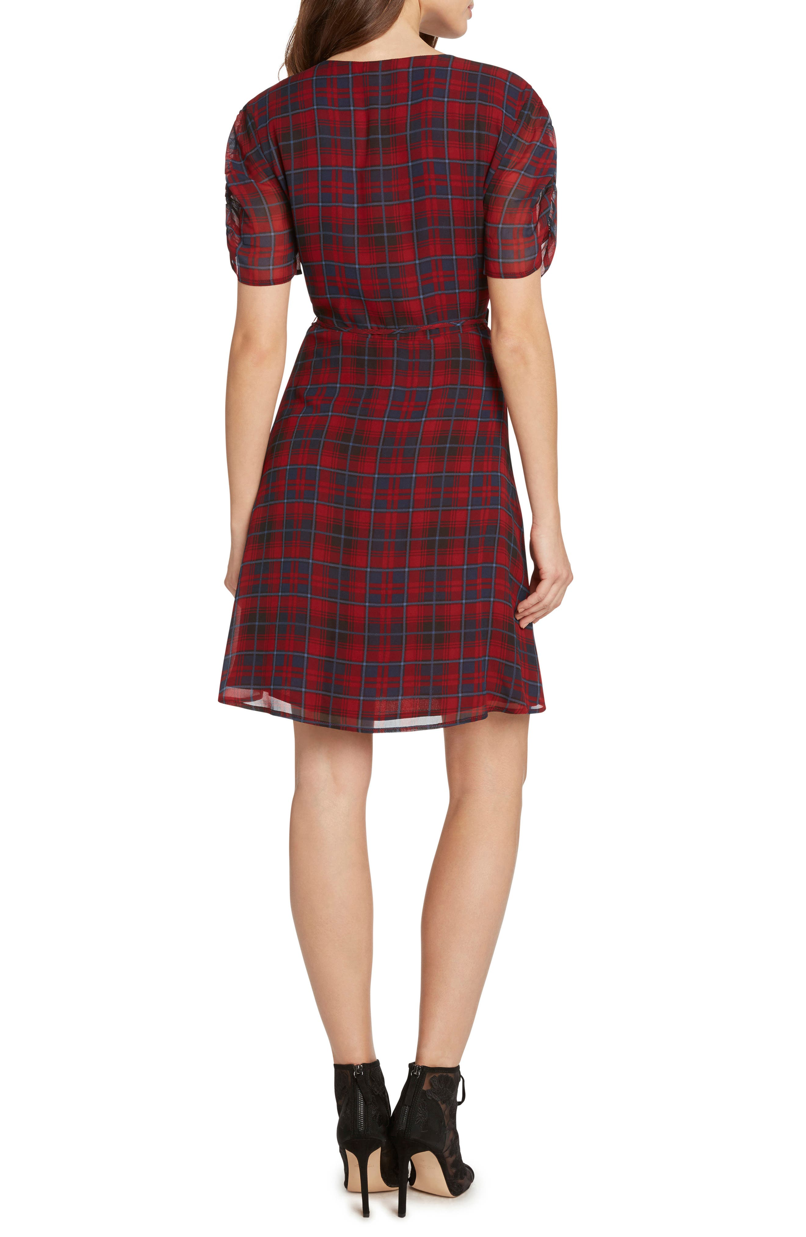 Plaid Ruched Sleeve Wrap Dress,                             Alternate thumbnail 2, color,                             930