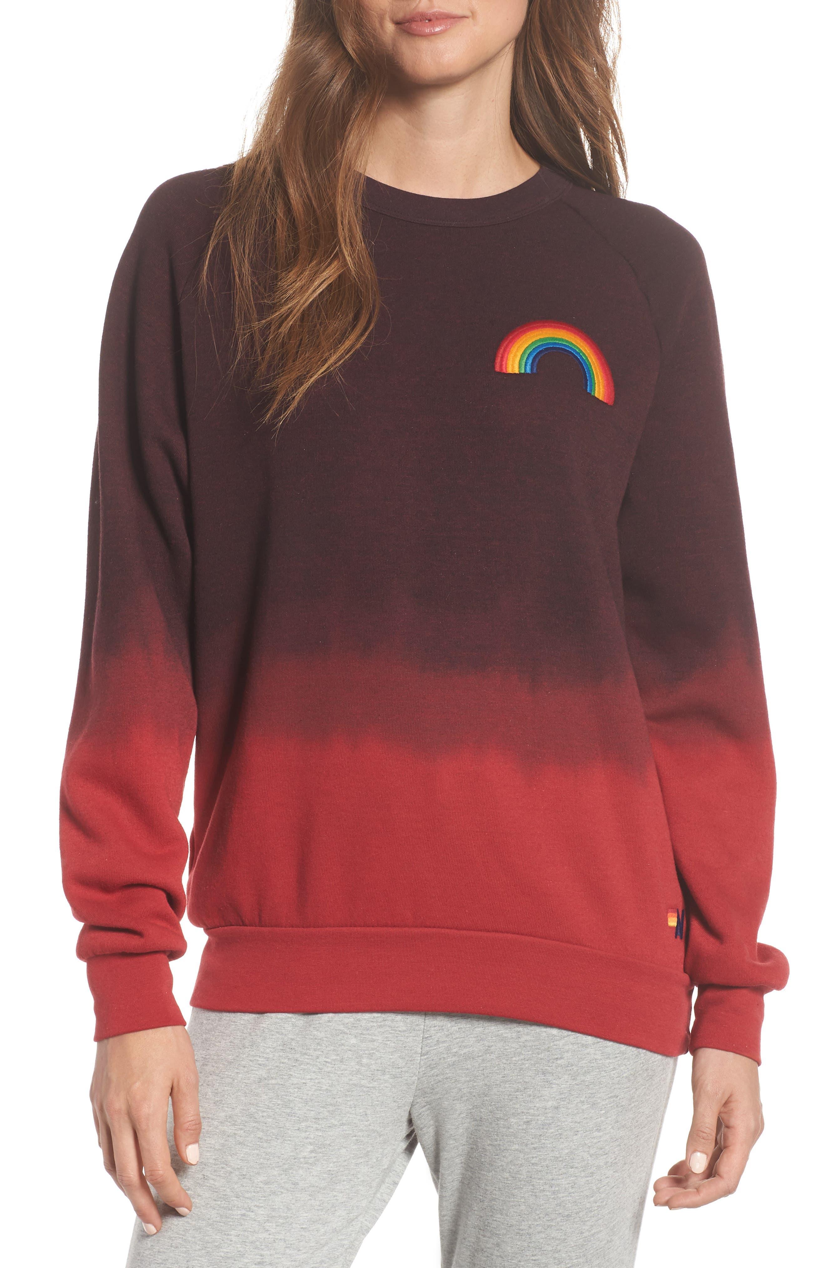 AVIATOR NATION Rainbow Fade Crewneck Sweatshirt in Red / Charcoal