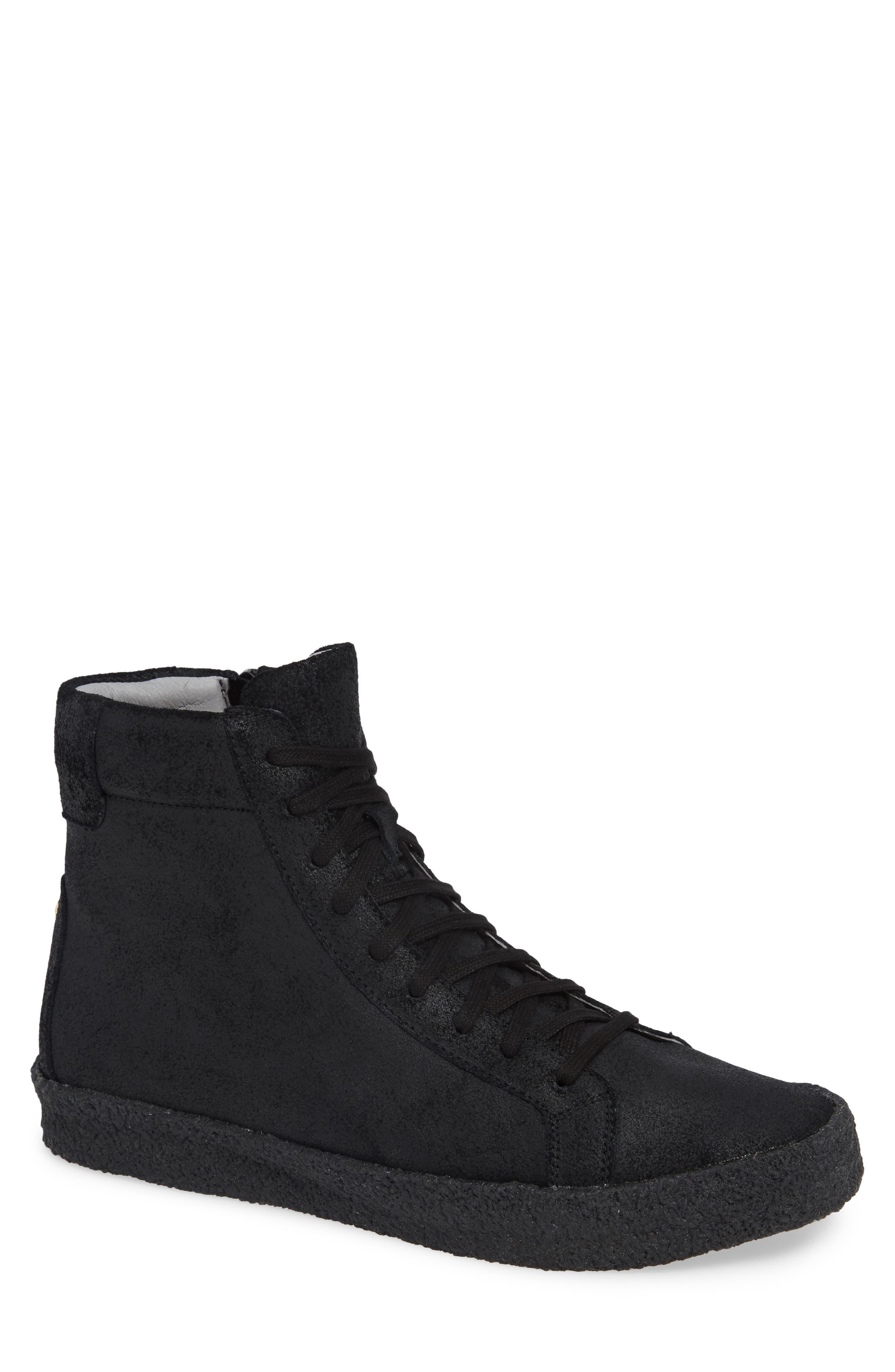 Apa High Top Sneaker,                         Main,                         color, TRIPLE BLACK LEATHER