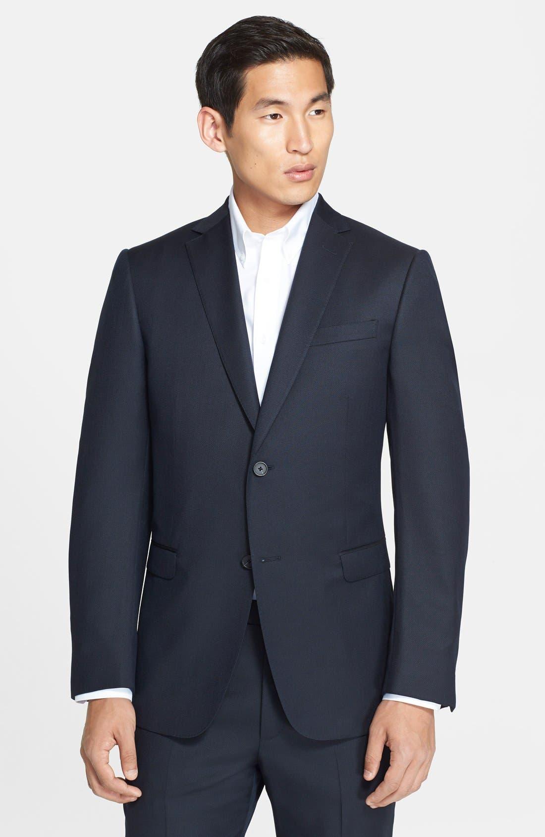 Trim Fit Navy Tic Weave Wool Suit,                             Alternate thumbnail 3, color,                             412
