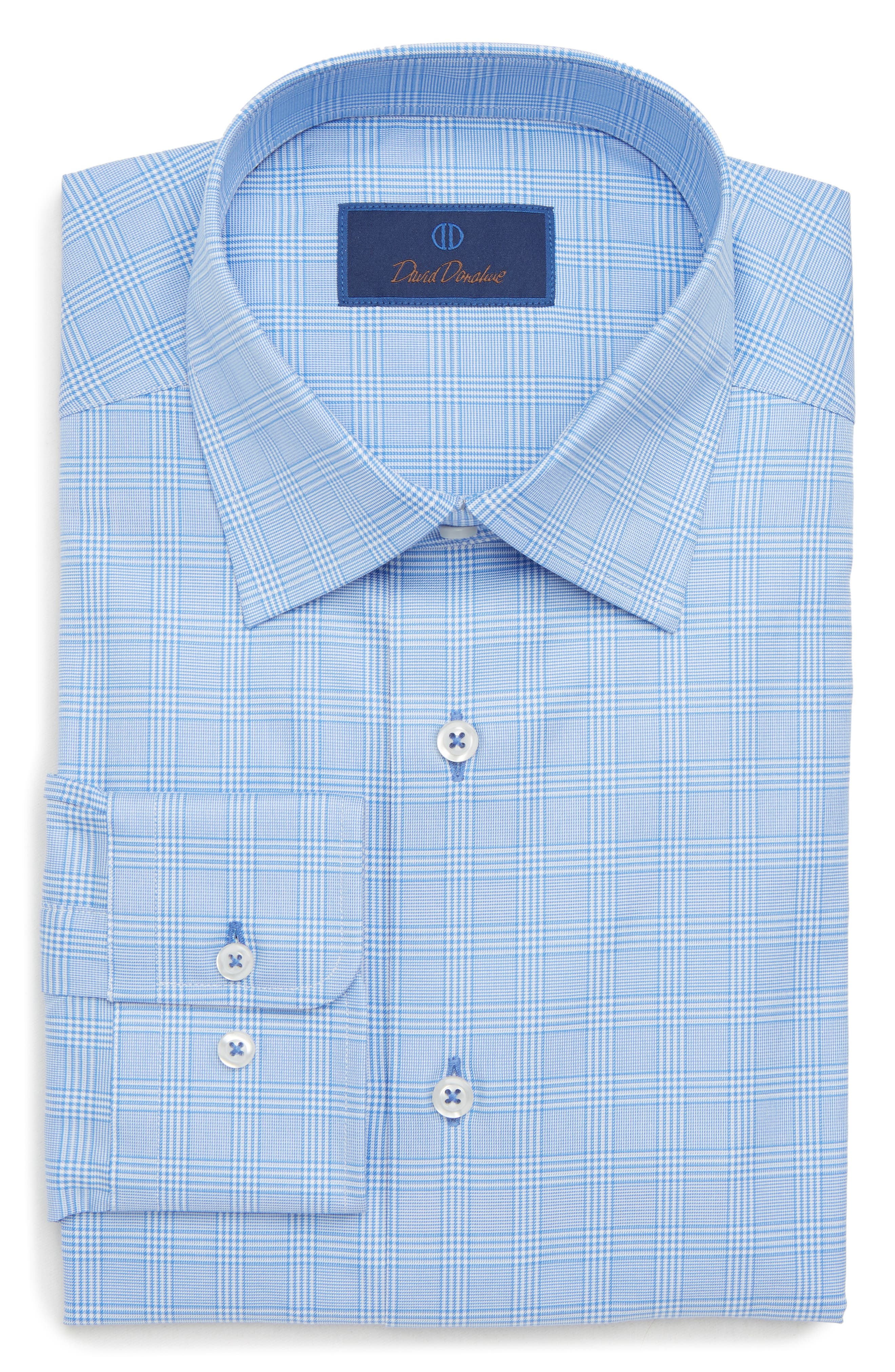 Regular Fit Plaid Dress Shirt,                             Alternate thumbnail 5, color,                             BLUE