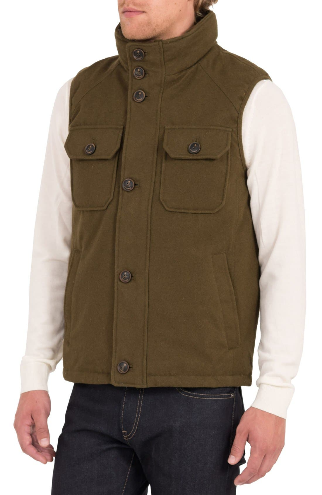 Water Resistant Down Vest with Stowaway Hood,                             Alternate thumbnail 4, color,                             317