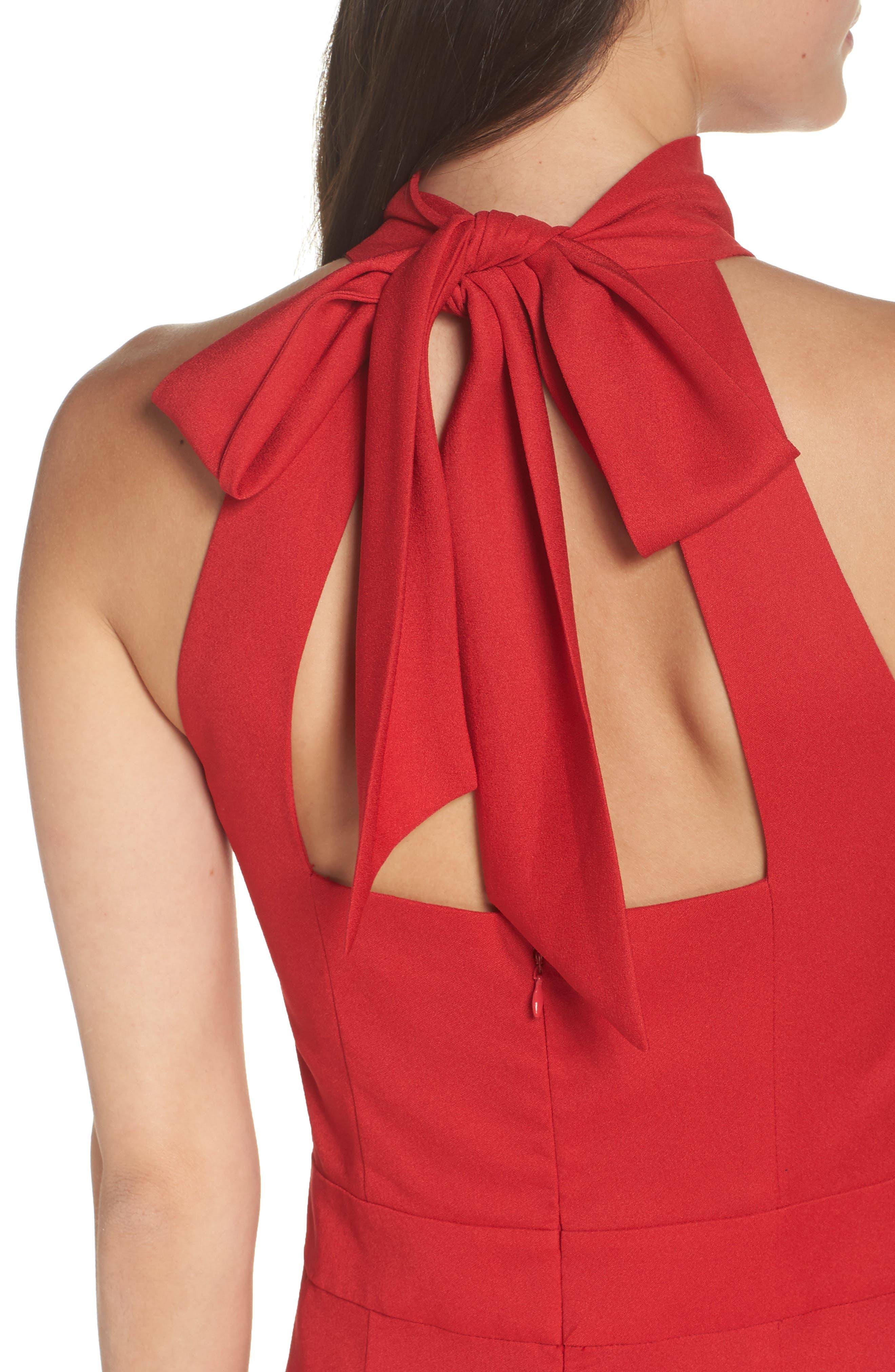 CHELSEA28, Tie Back Jumpsuit, Alternate thumbnail 5, color, RED LIPSTICK
