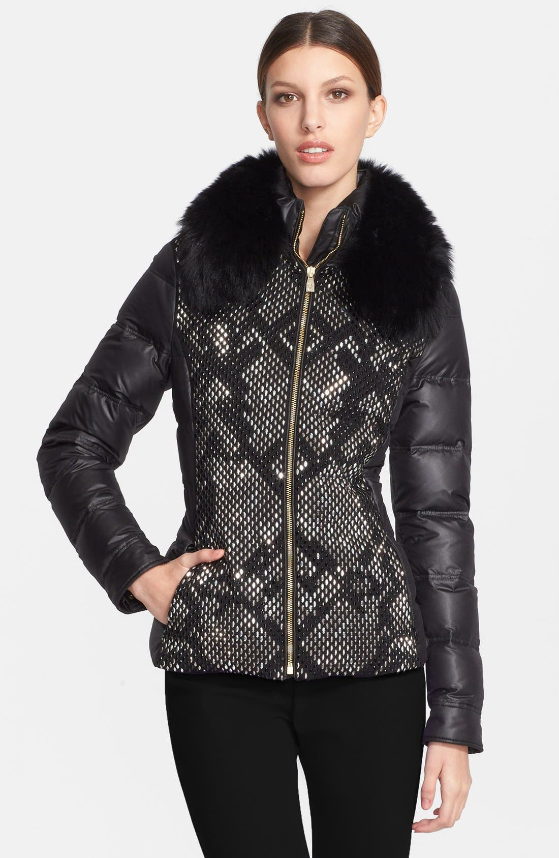 Down Puffer Jacket with Genuine Fox Fur Collar, Main, color, 001