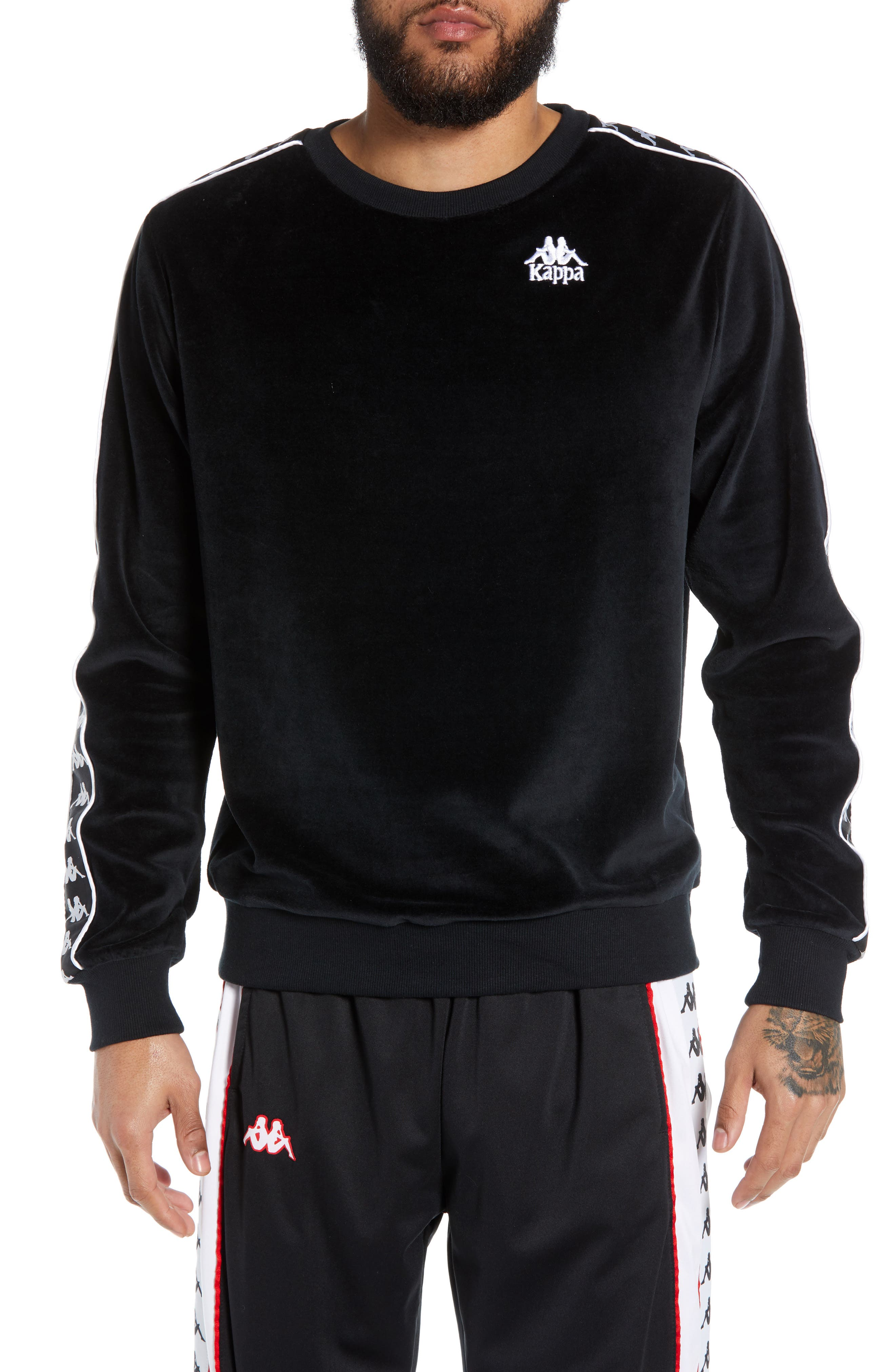 KAPPA Authentic Aynset Velour Crewneck Sweatshirt, Main, color, 001