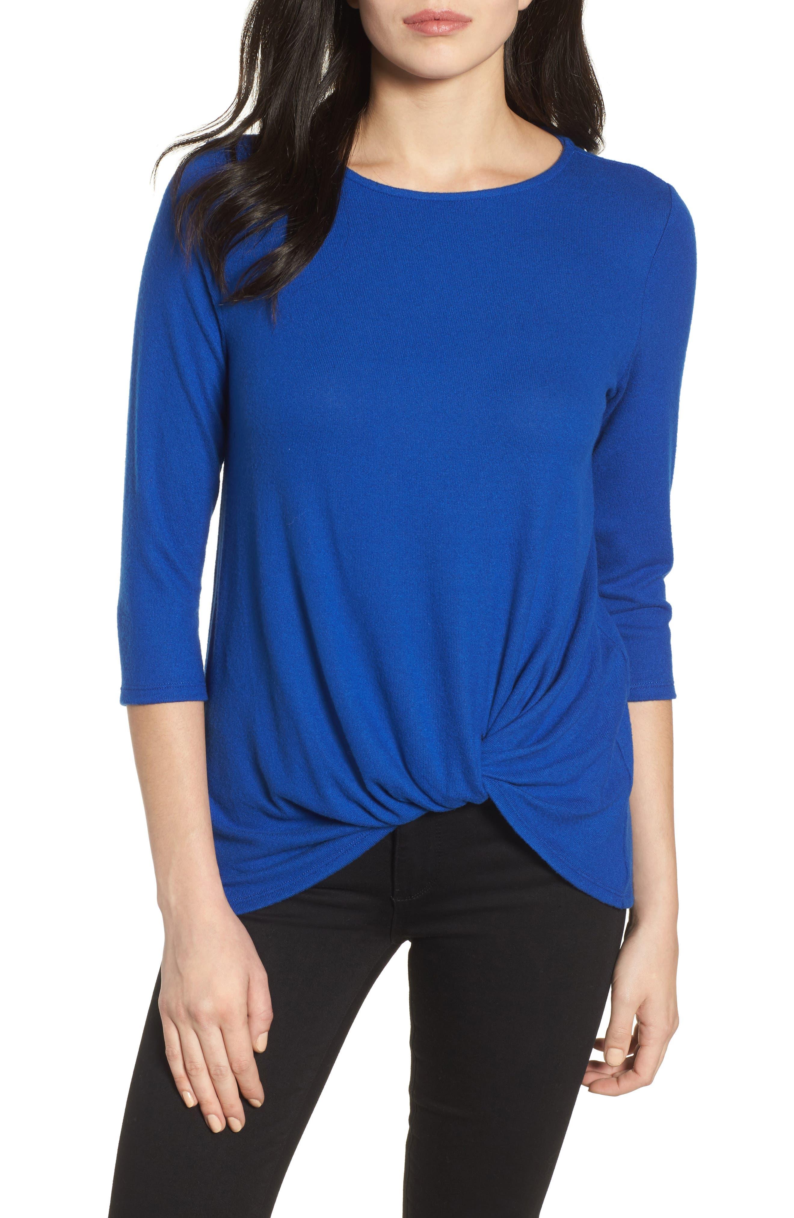 Cozy Twist Front Pullover,                         Main,                         color, BLUE SURF