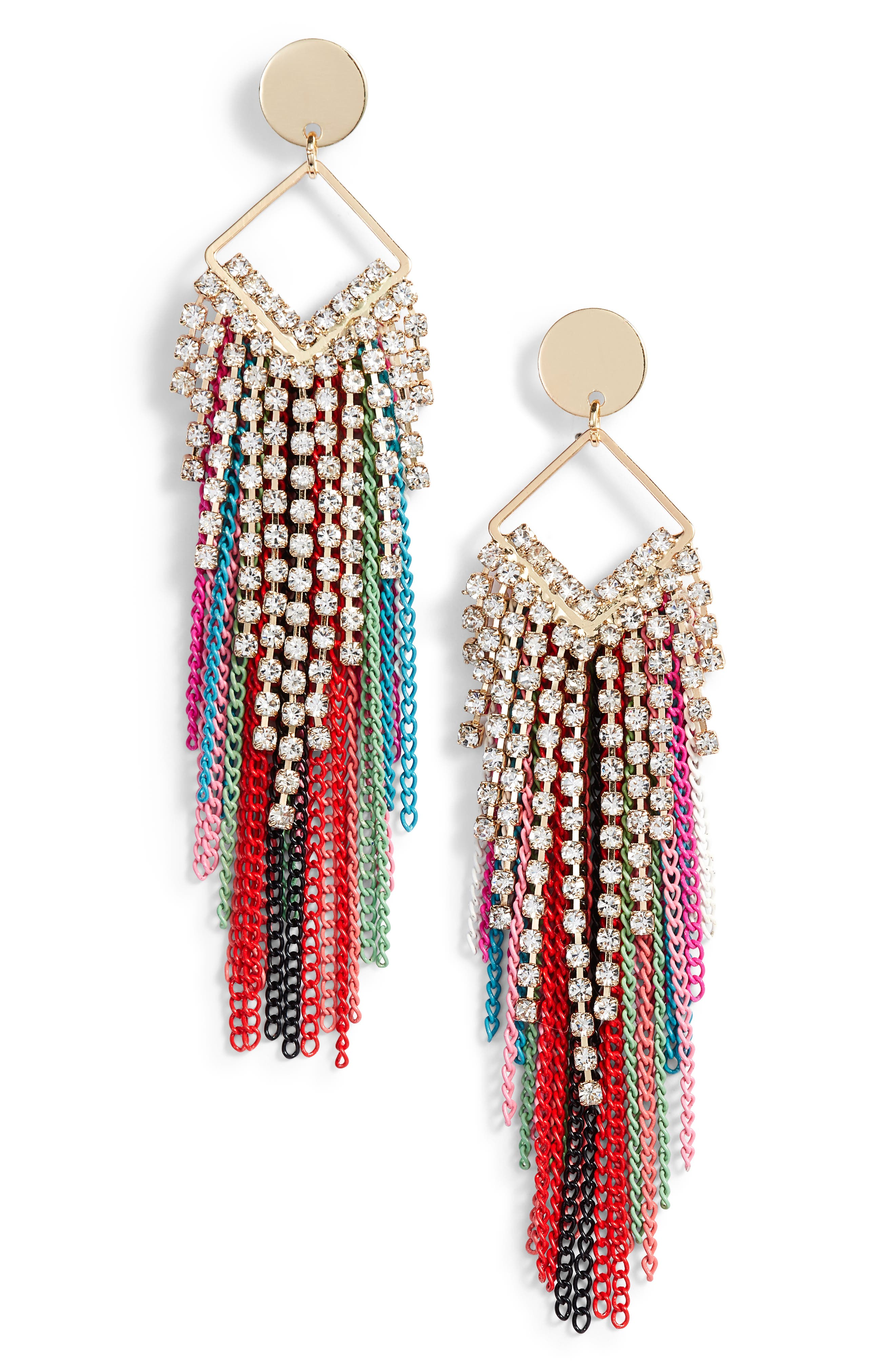 STELLA + RUBY Fringe Earrings, Main, color, 710