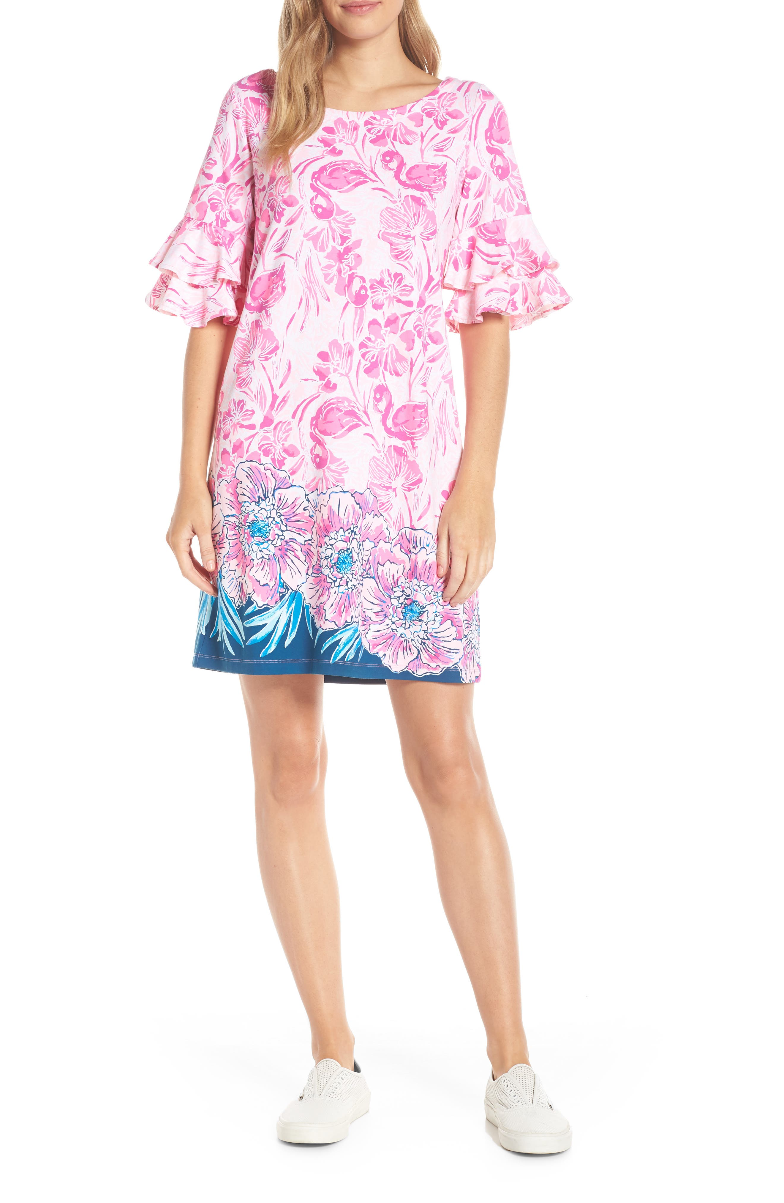 LILLY PULITZER<SUP>®</SUP>,                             Lula Shift Dress,                             Alternate thumbnail 5, color,                             CORAL REEF TINT FLAMINGLE