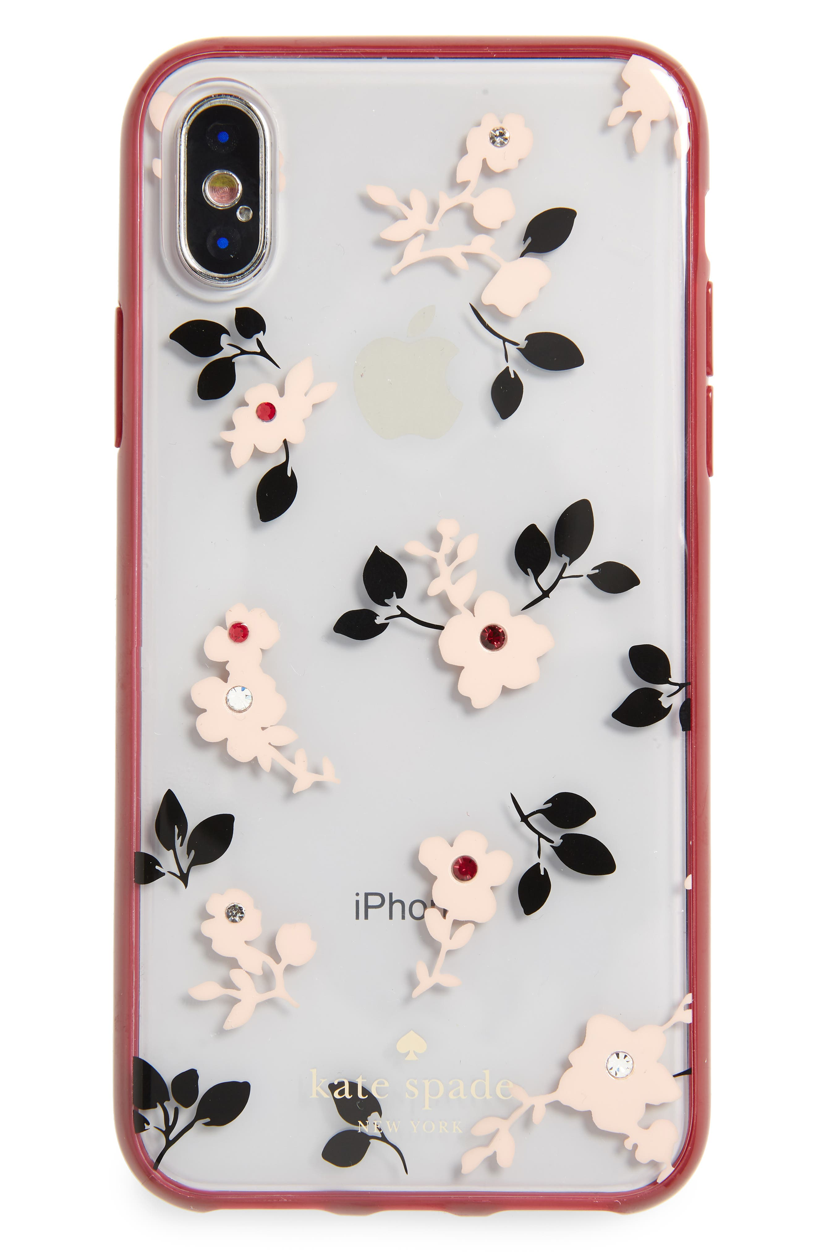 jeweled camellia iPhone X/Xs case,                             Main thumbnail 1, color,                             CLEAR MULTI