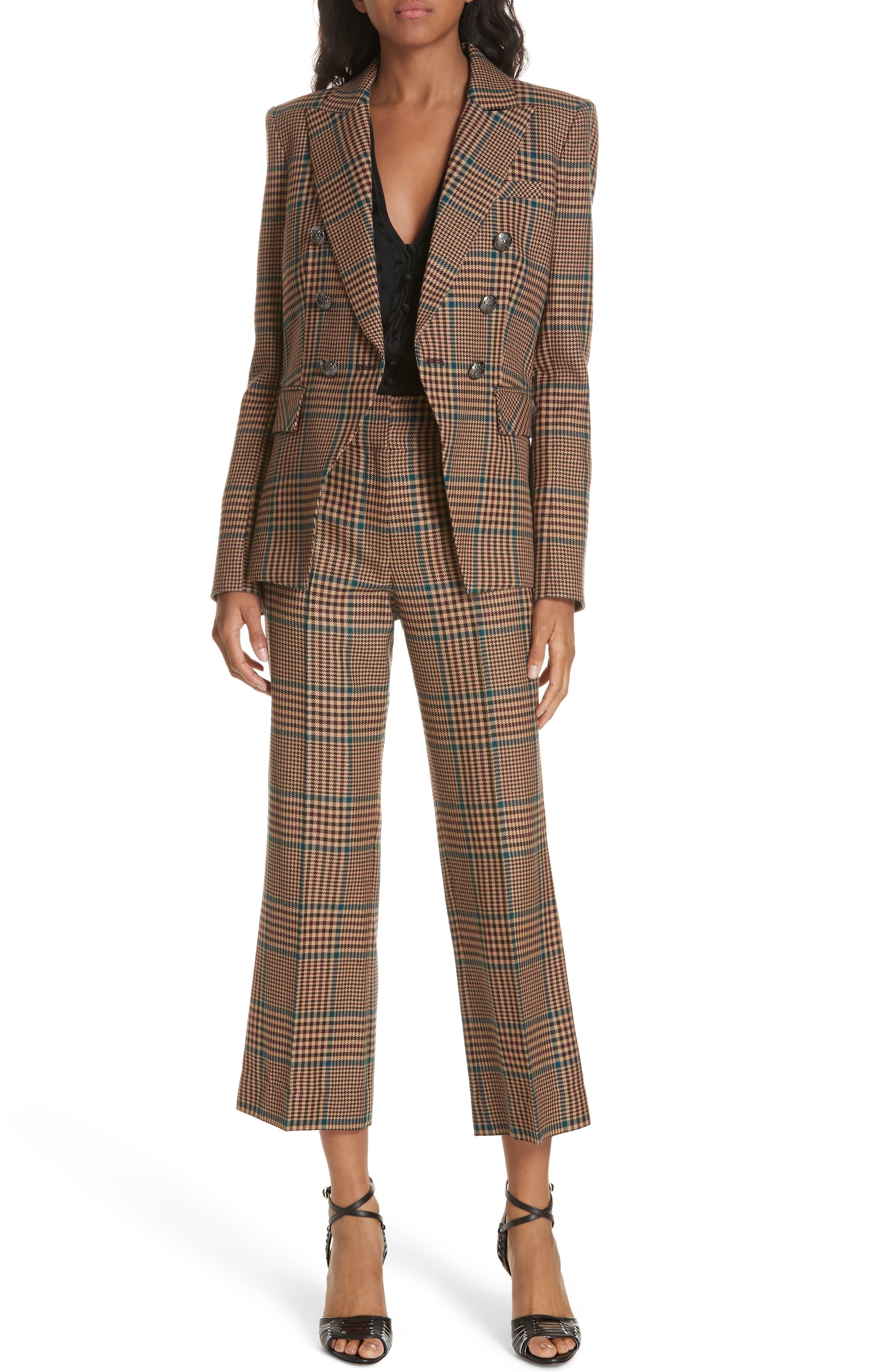 Cormac Plaid Wool Blend Trousers,                             Alternate thumbnail 7, color,                             230