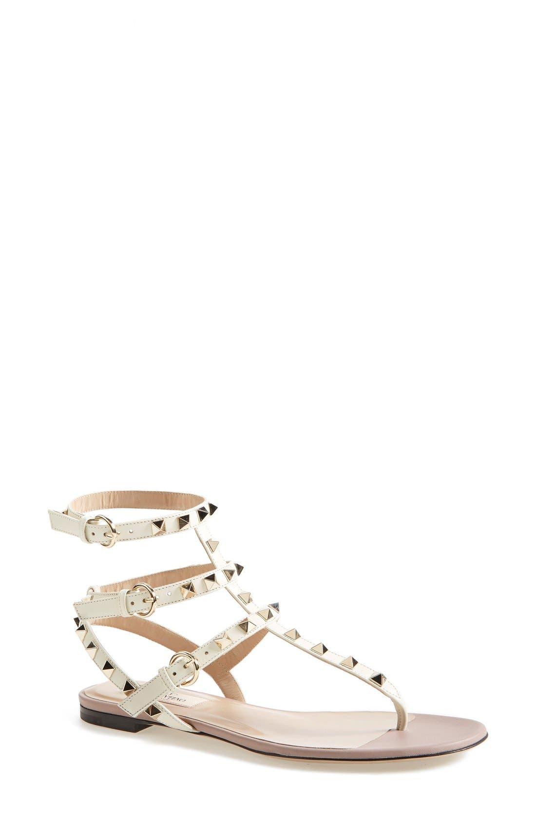 'Rockstud' Leather Thong Sandal, Main, color, 900
