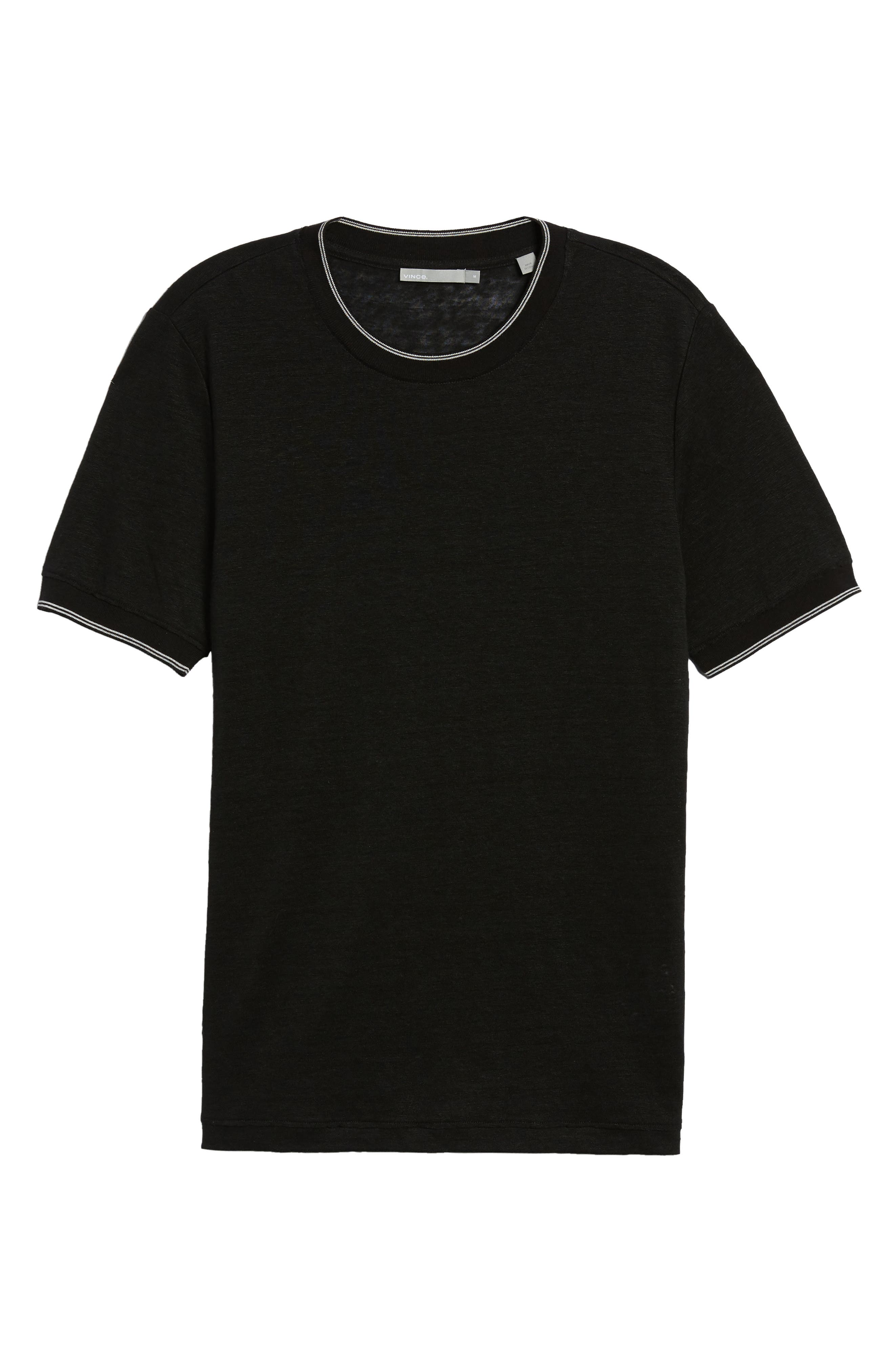 Slim Fit Tipped Linen T-Shirt,                             Alternate thumbnail 6, color,                             001
