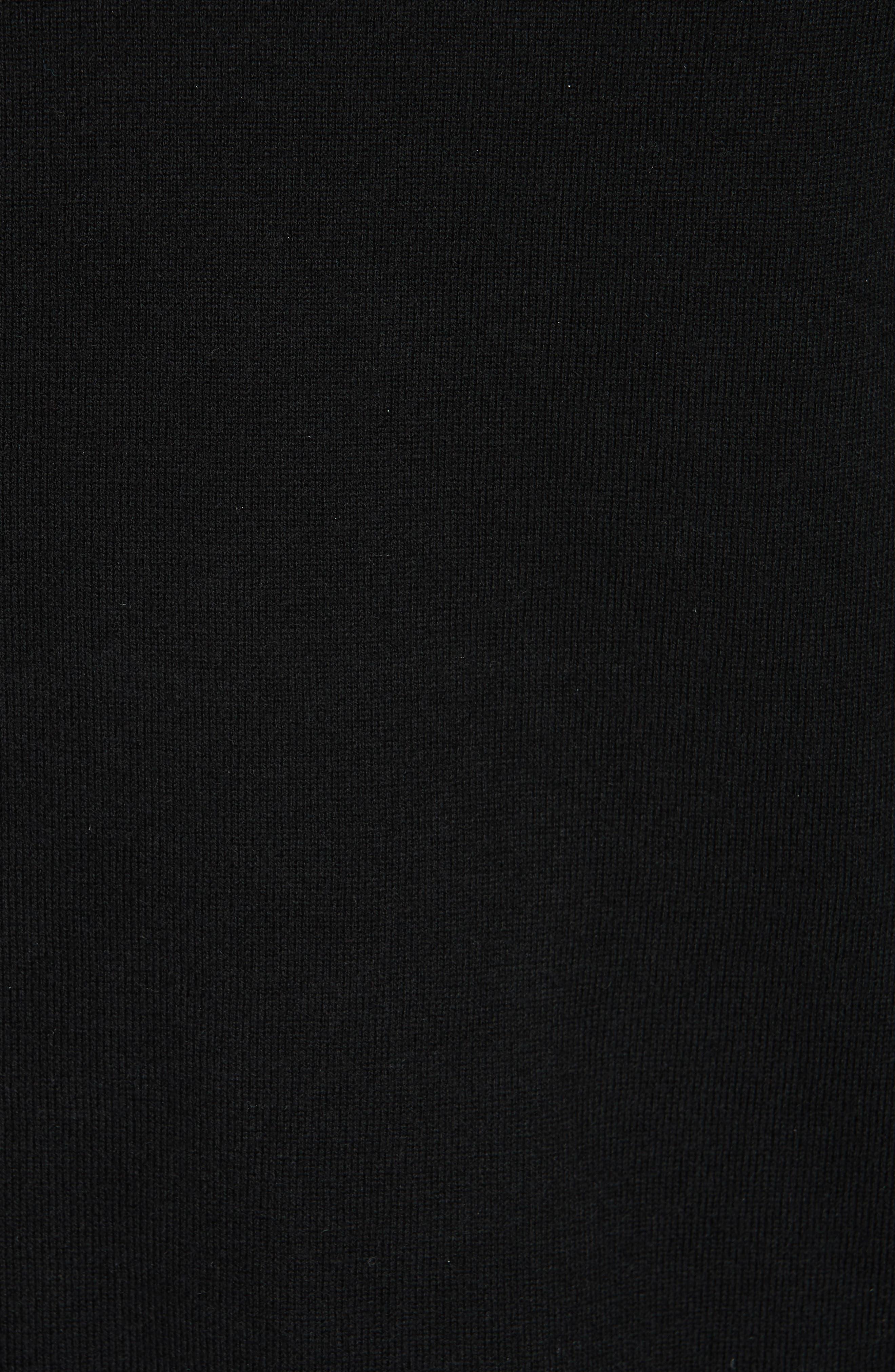 Kaarina Pleat Neck Mix Media Top,                             Alternate thumbnail 5, color,                             BLACK