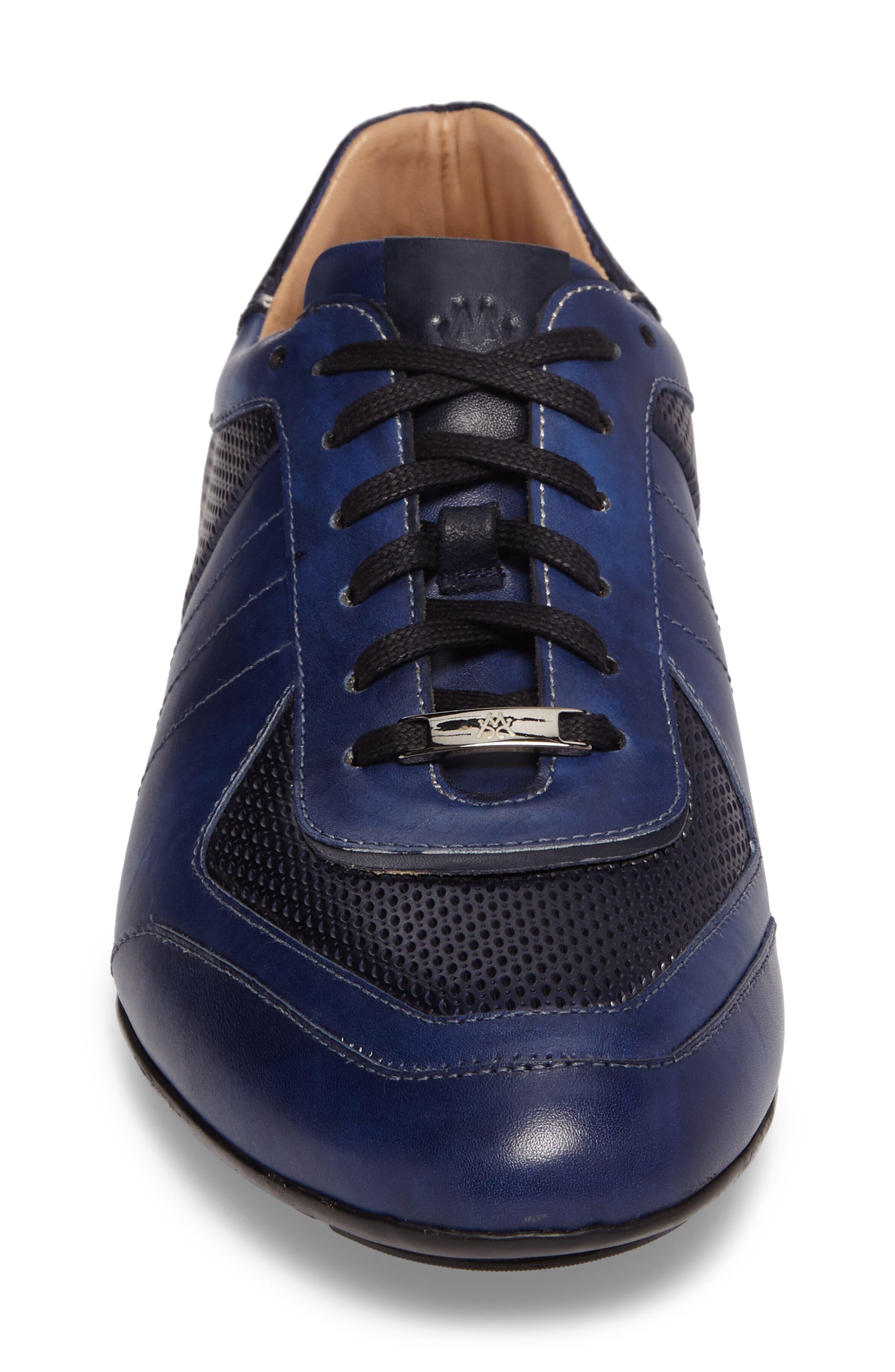 MEZLAN,                             Redon Embossed Sneaker,                             Alternate thumbnail 4, color,                             BLUE LEATHER