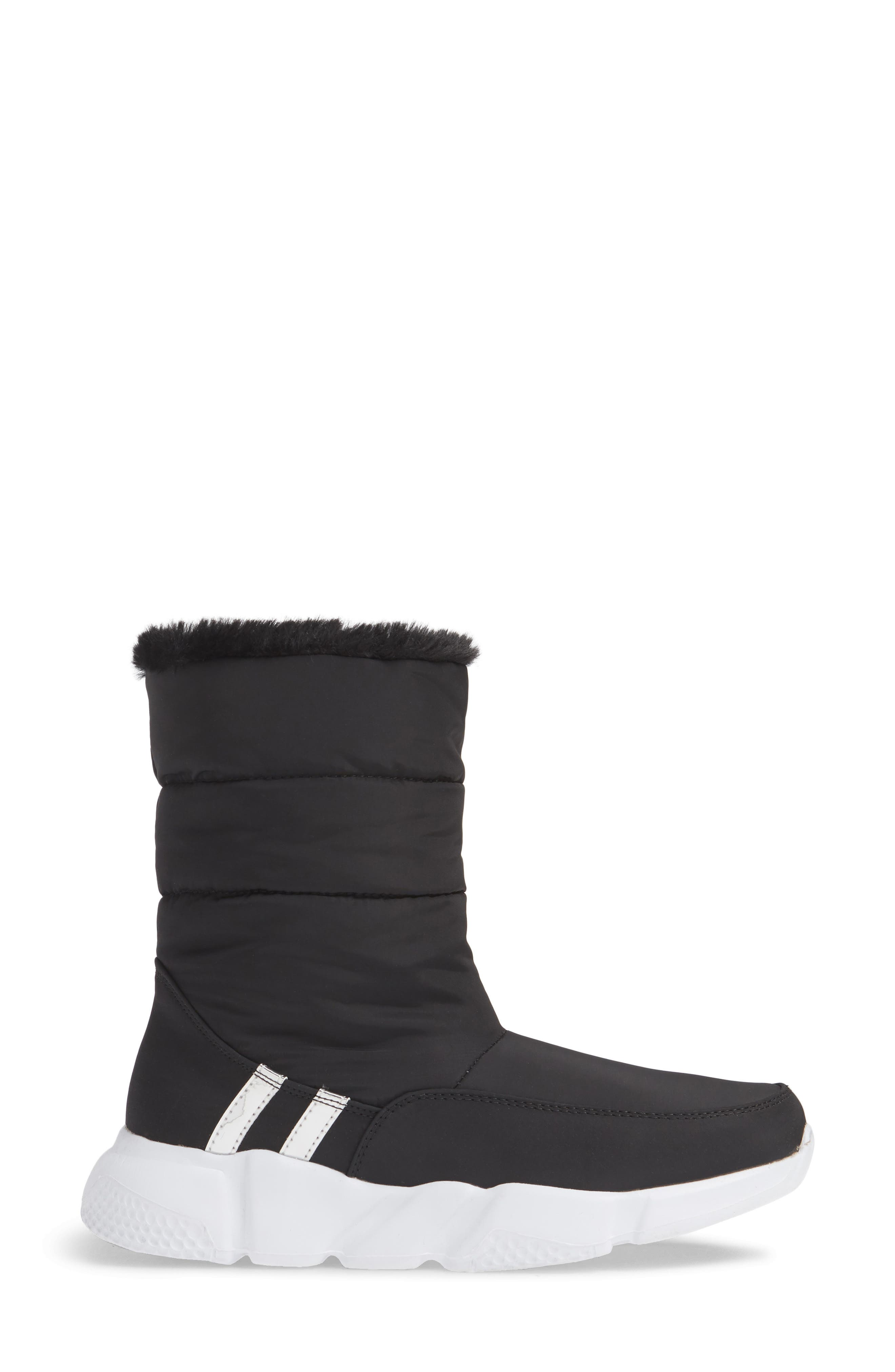 STEVE MADDEN,                             Snowday Faux Fur Lined Boot,                             Alternate thumbnail 3, color,                             BLACK