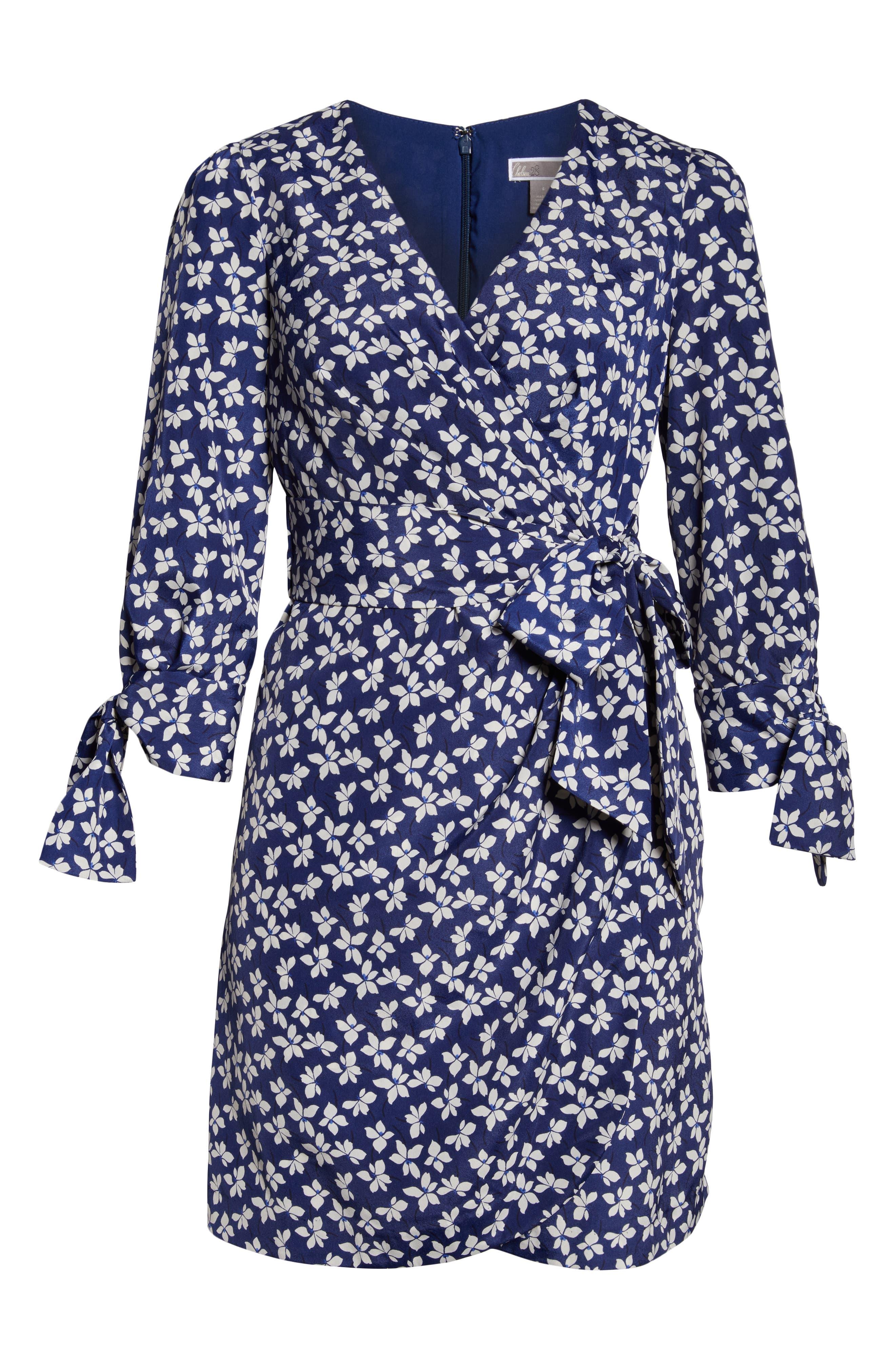 CHELSEA28,                             Floral Print Faux Wrap Dress,                             Alternate thumbnail 7, color,                             NAVY