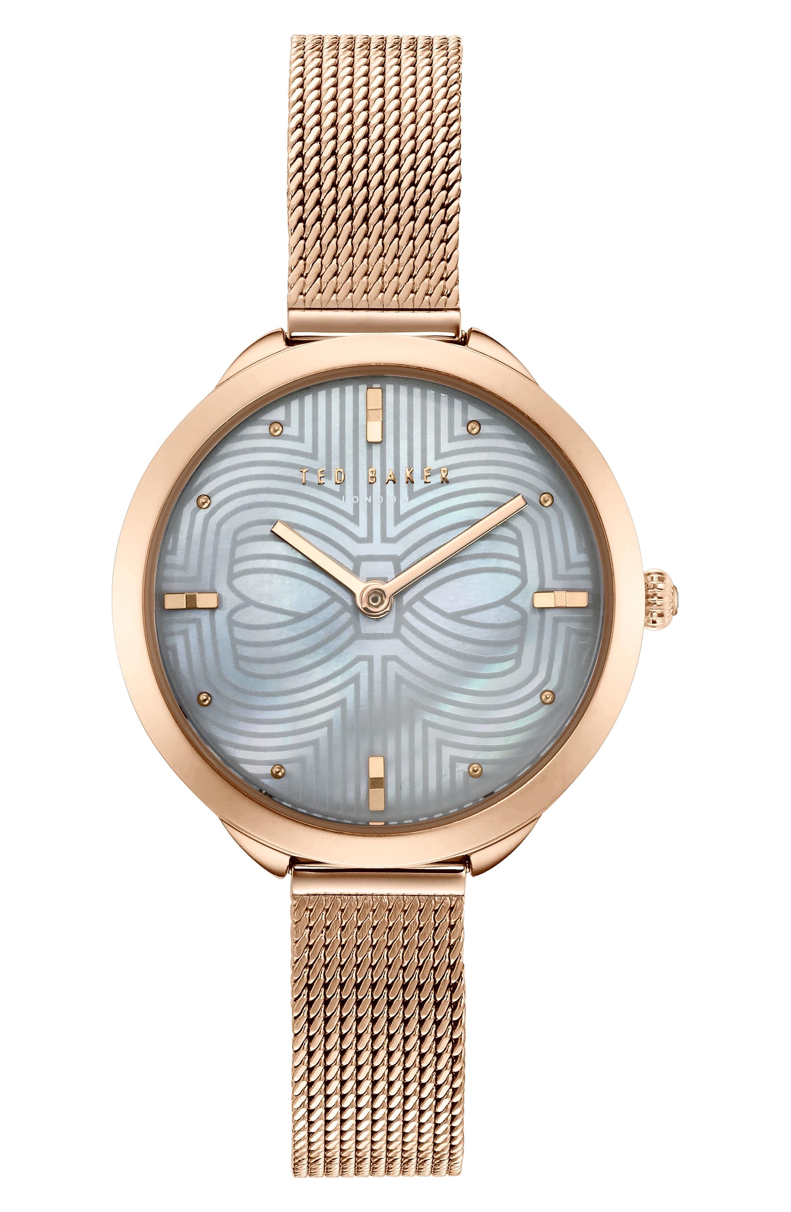 Elena Mesh Strap Watch, 30mm,                             Main thumbnail 1, color,                             ROSE GOLD/ BLUE MOP/ ROSE GOLD