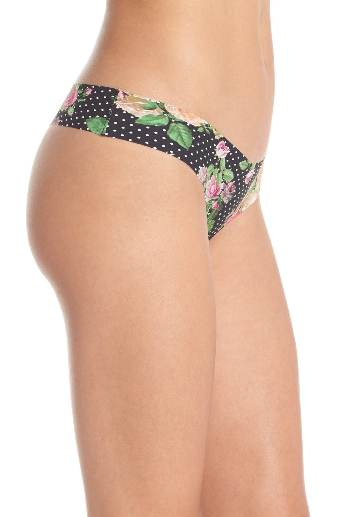 Print Microfiber Thong,                             Alternate thumbnail 128, color,