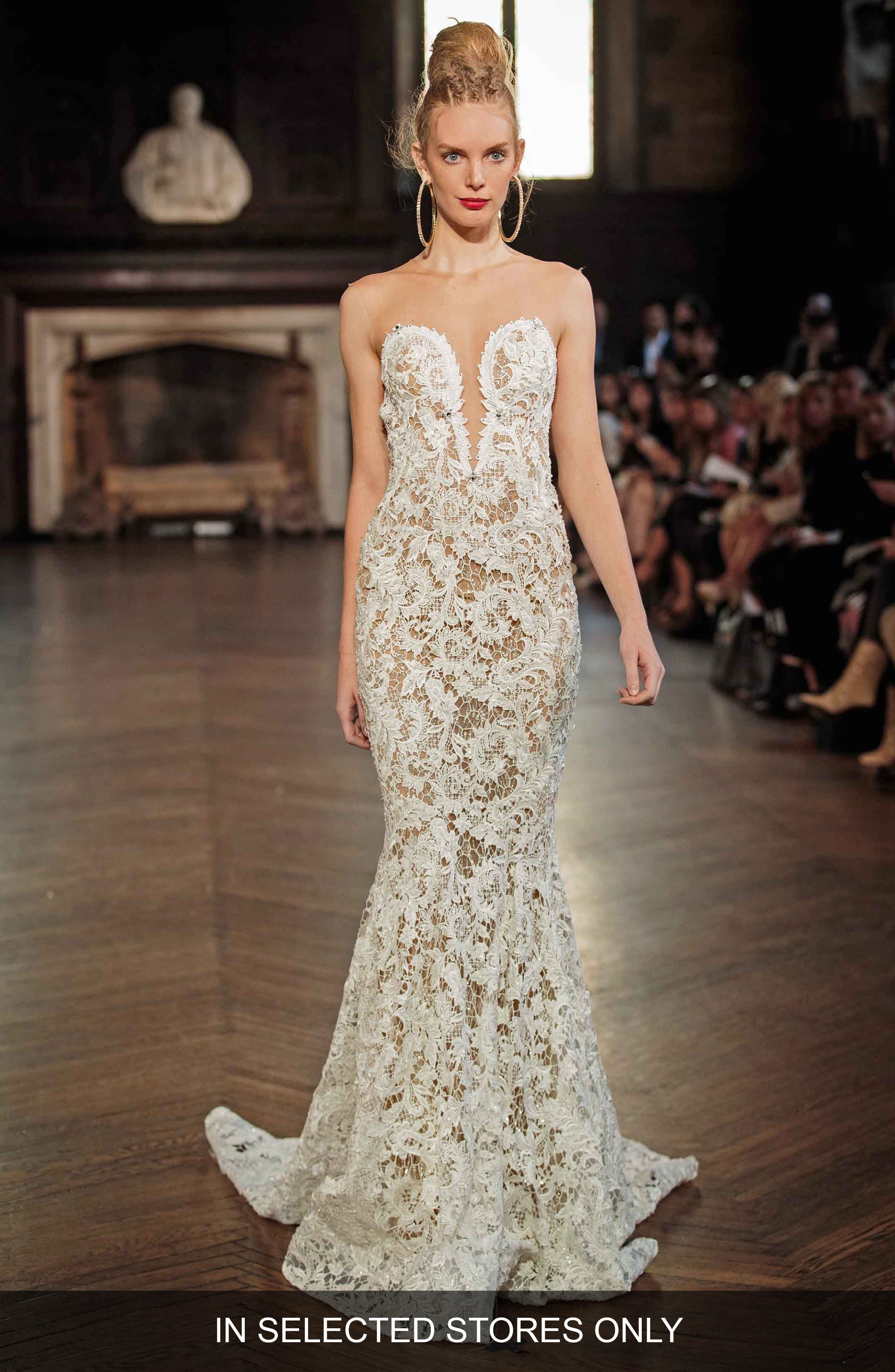 Illusion Lace Mermaid Gown,                         Main,                         color, IVORY
