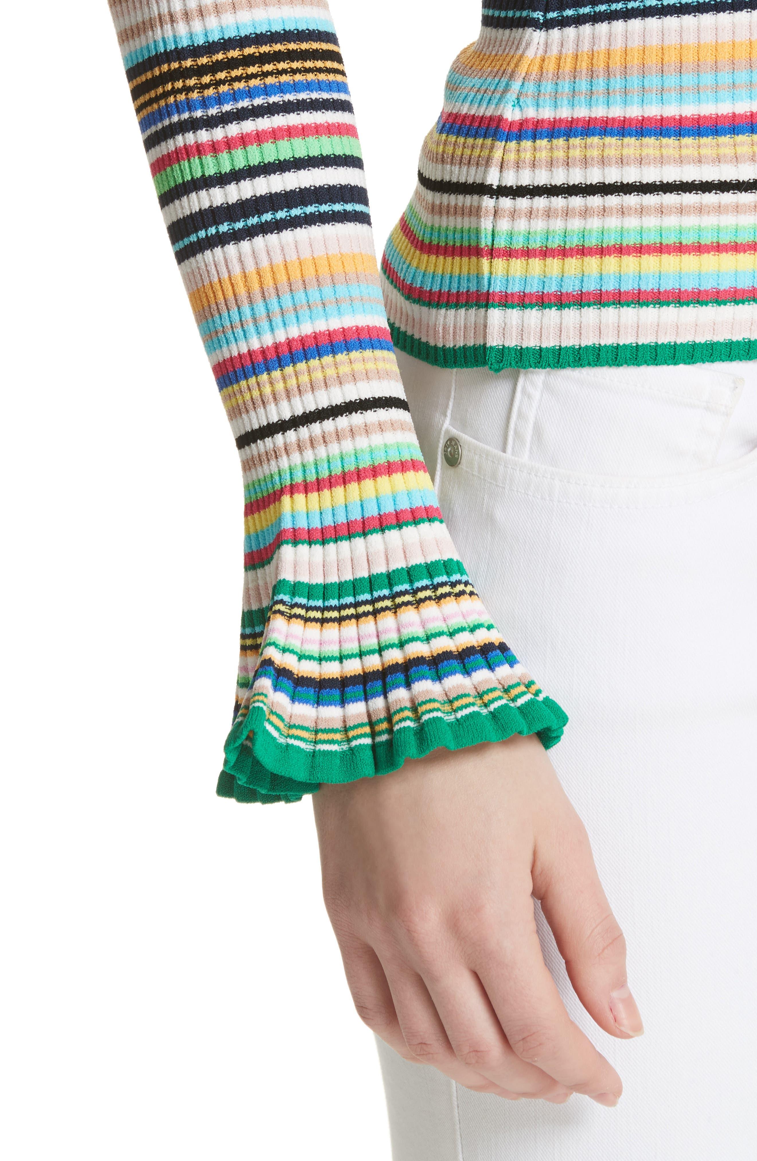 Microstripe Flare Sleeve Pullover,                             Alternate thumbnail 4, color,                             167