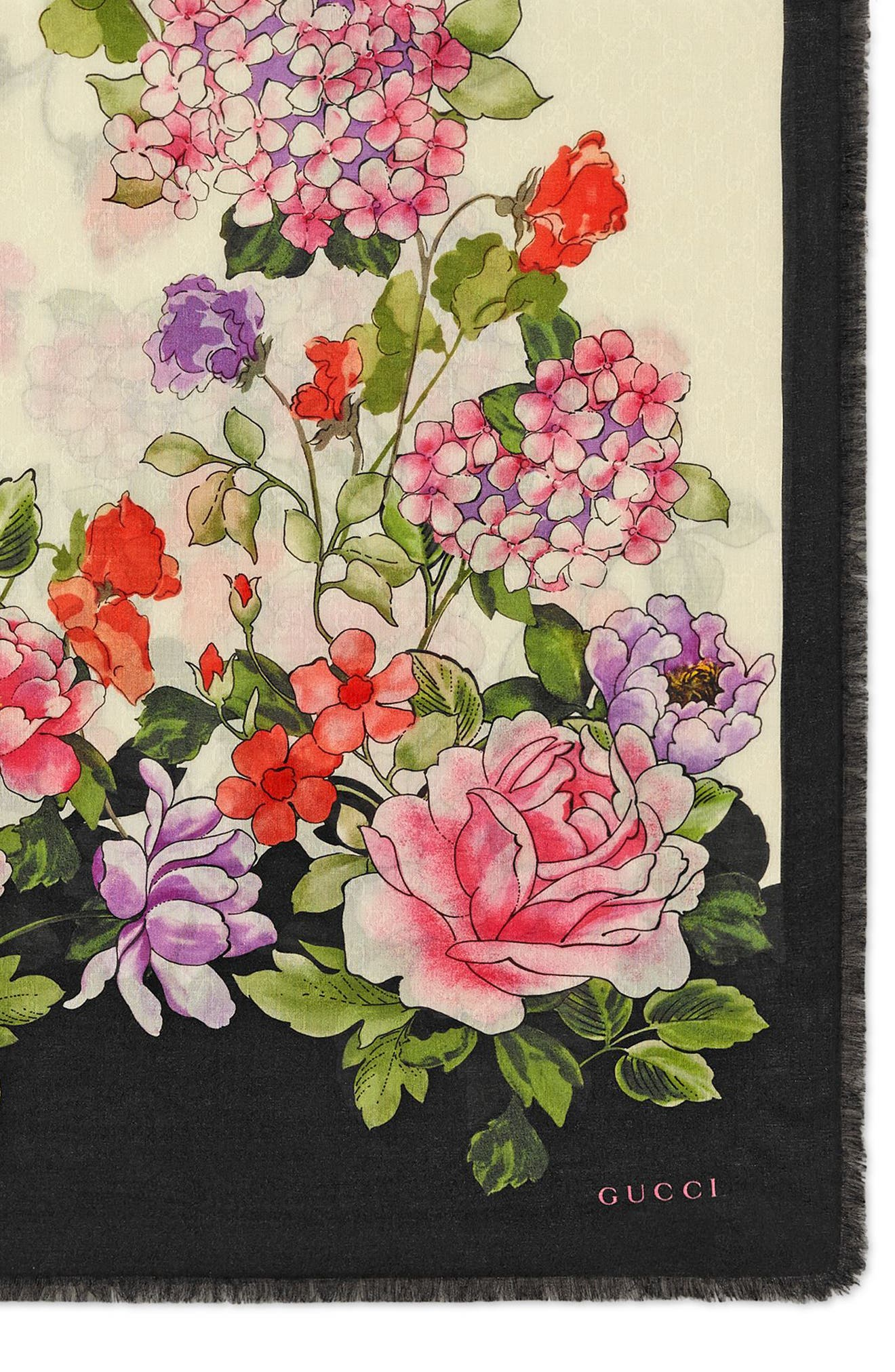 GUCCI,                             Rising Flowers Square Shawl,                             Alternate thumbnail 2, color,                             IVORY/ BLACK