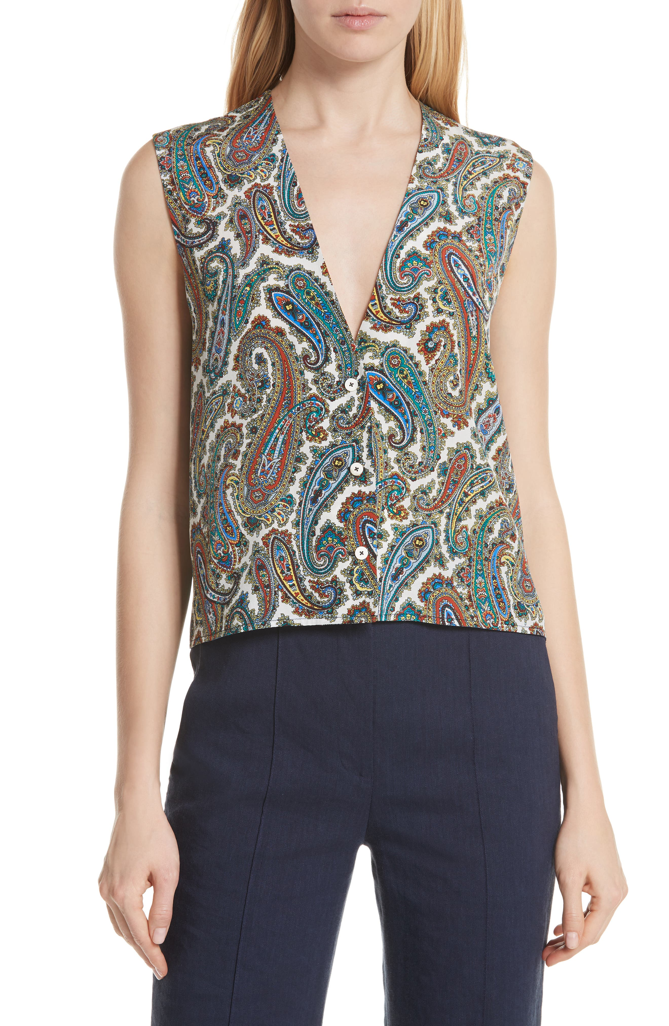 Paisley Silk Blouse,                         Main,                         color,