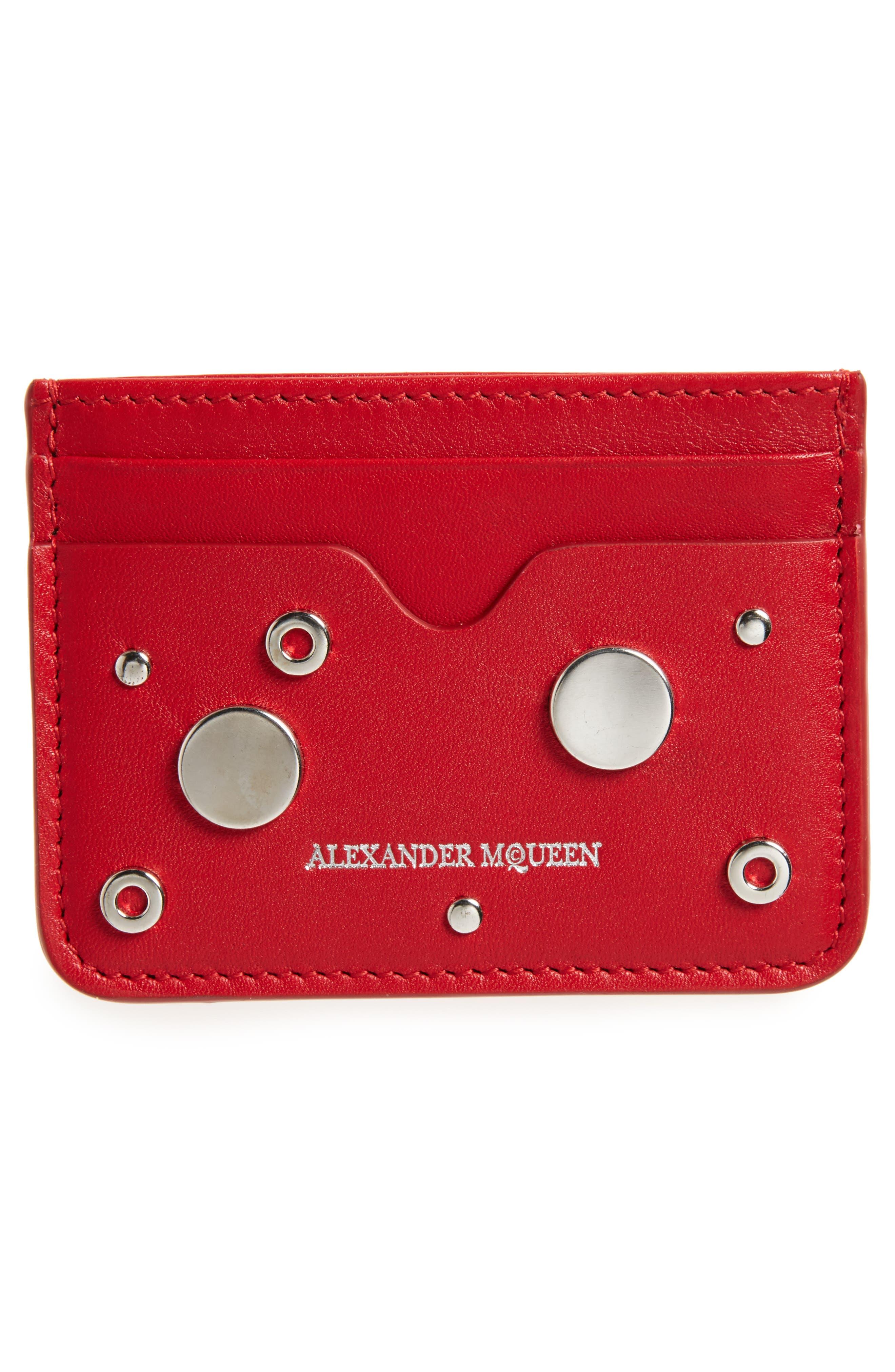 Grommet & Stud Calfskin Card Holder,                             Alternate thumbnail 2, color,                             649