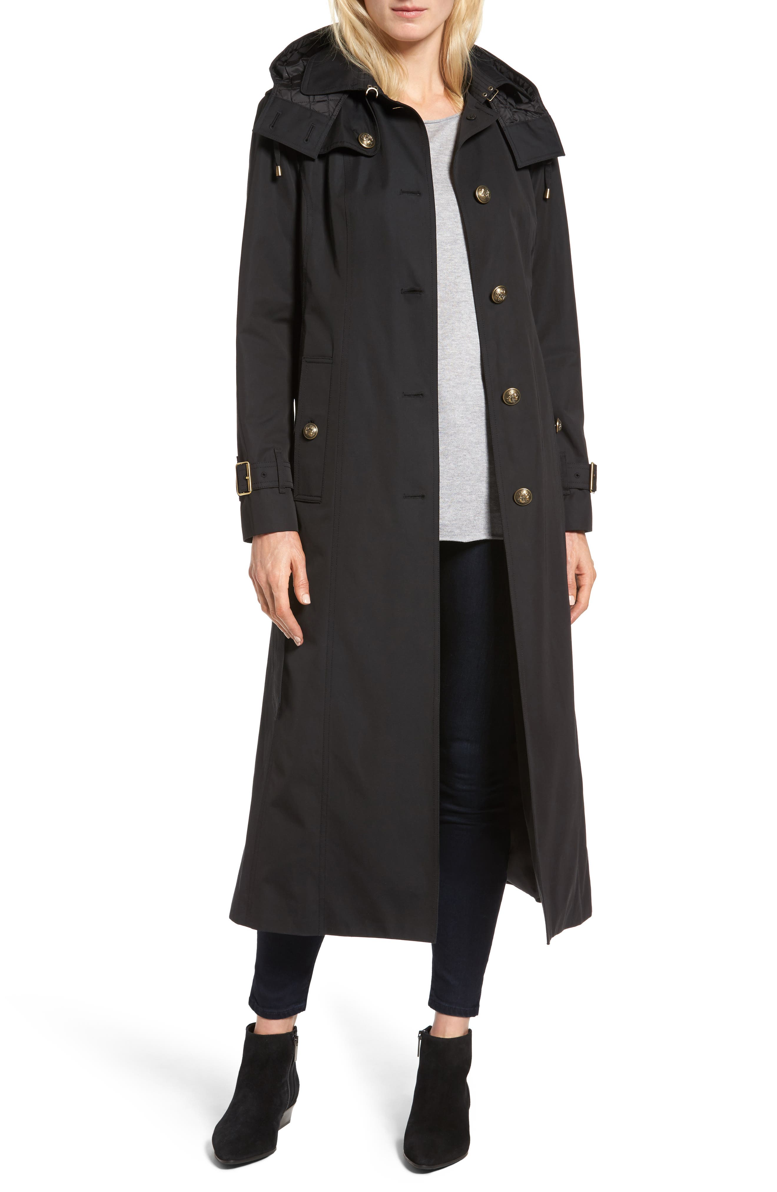 Hooded Single Breasted Long Trench Coat,                             Main thumbnail 1, color,                             001