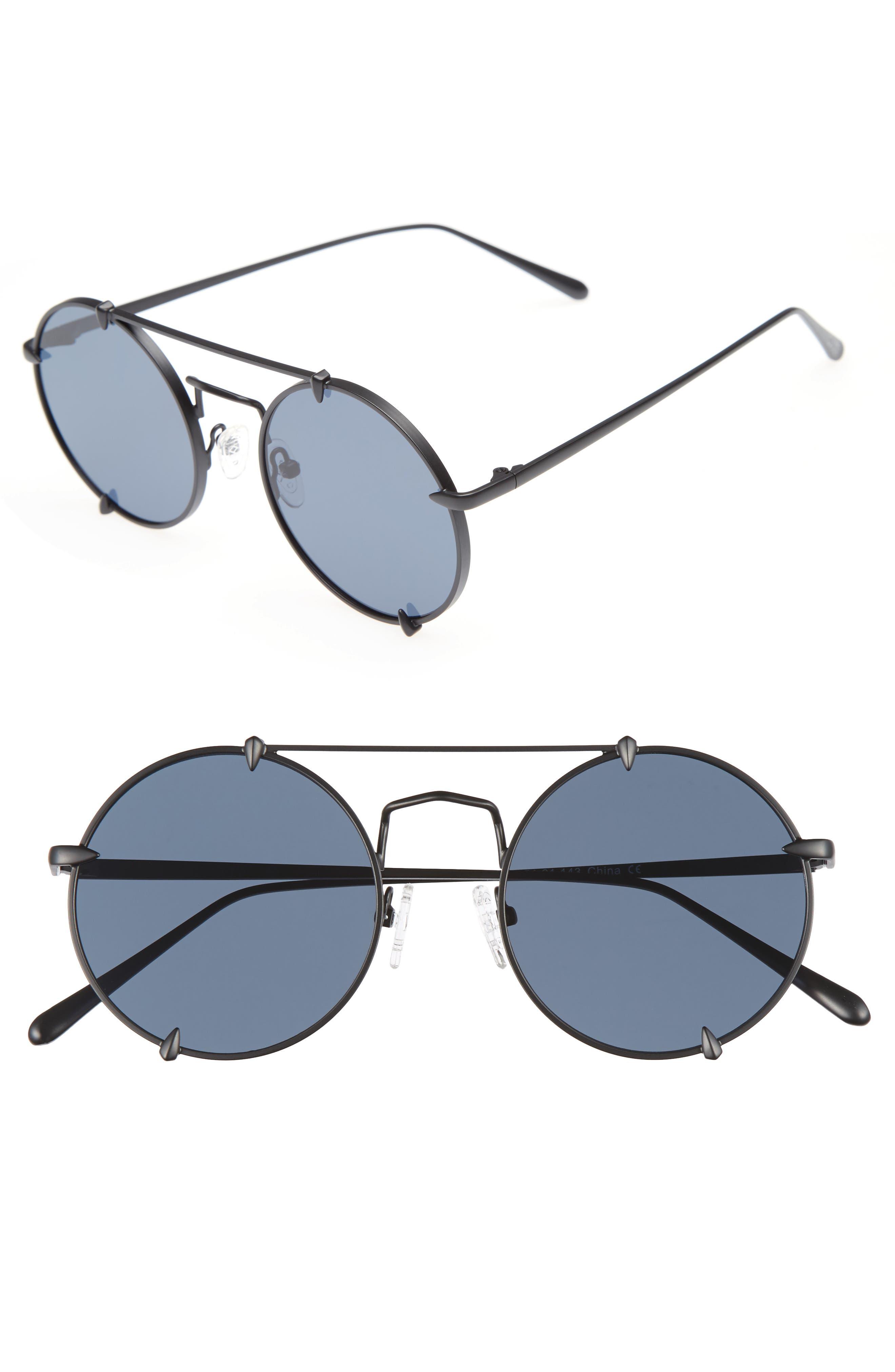 Bonnie Clide Pico 51mm Round Browbar Sunglasses,                         Main,                         color, 001