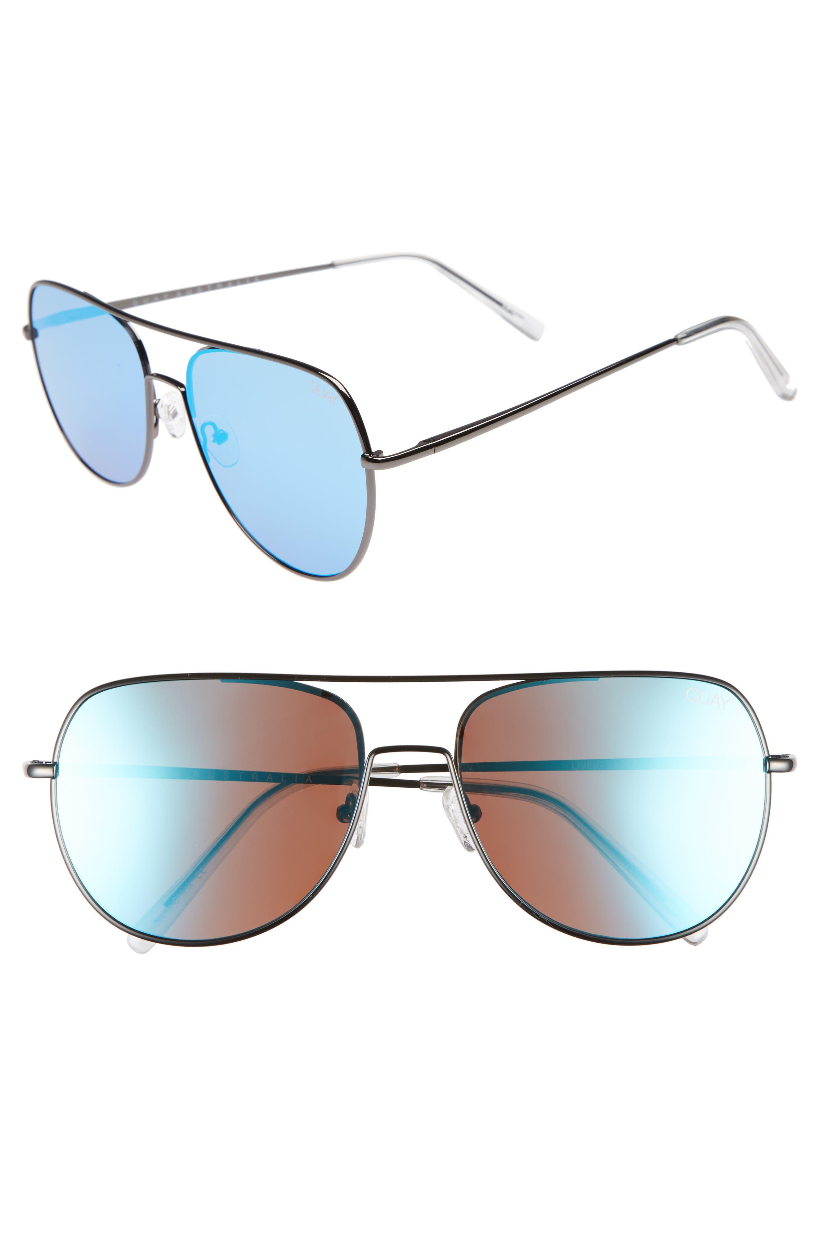 Living Large 58mm Aviator Sunglasses,                             Main thumbnail 1, color,                             DARK GREY/BLUE